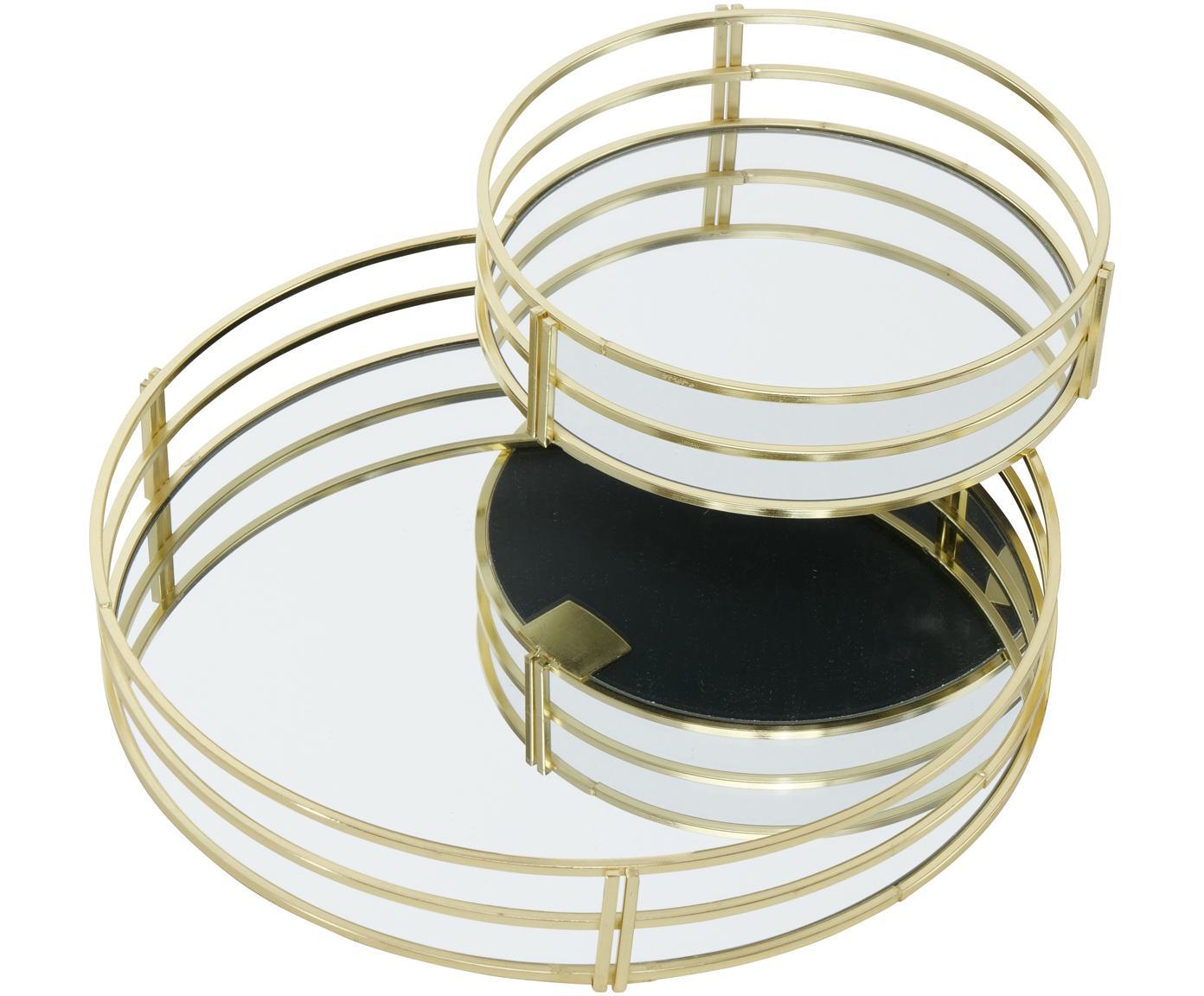 Decoratieve dienbladenset Sino, 2-delig, Metaal, spiegelglas, Goudkleurig, Verschillende formaten