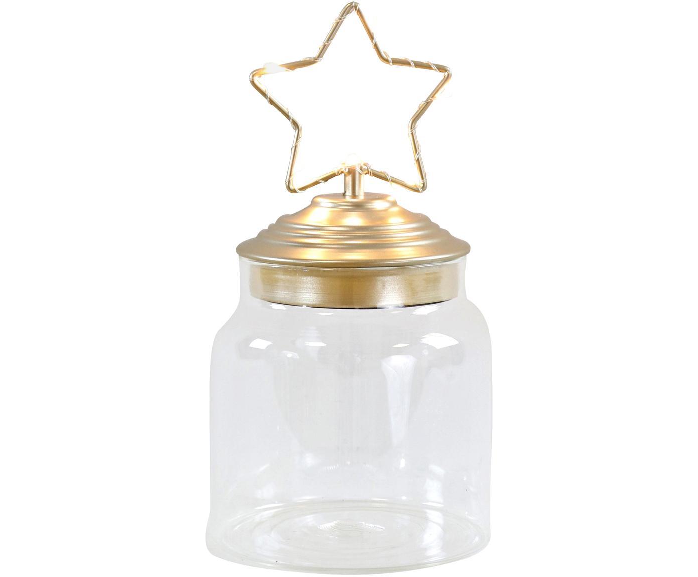 LED Aufbewahrungsdose Star, Dose: Glas, Deckel: Metall, beschichtet, Transparent, Goldfarben, Ø 11 x H 15 cm
