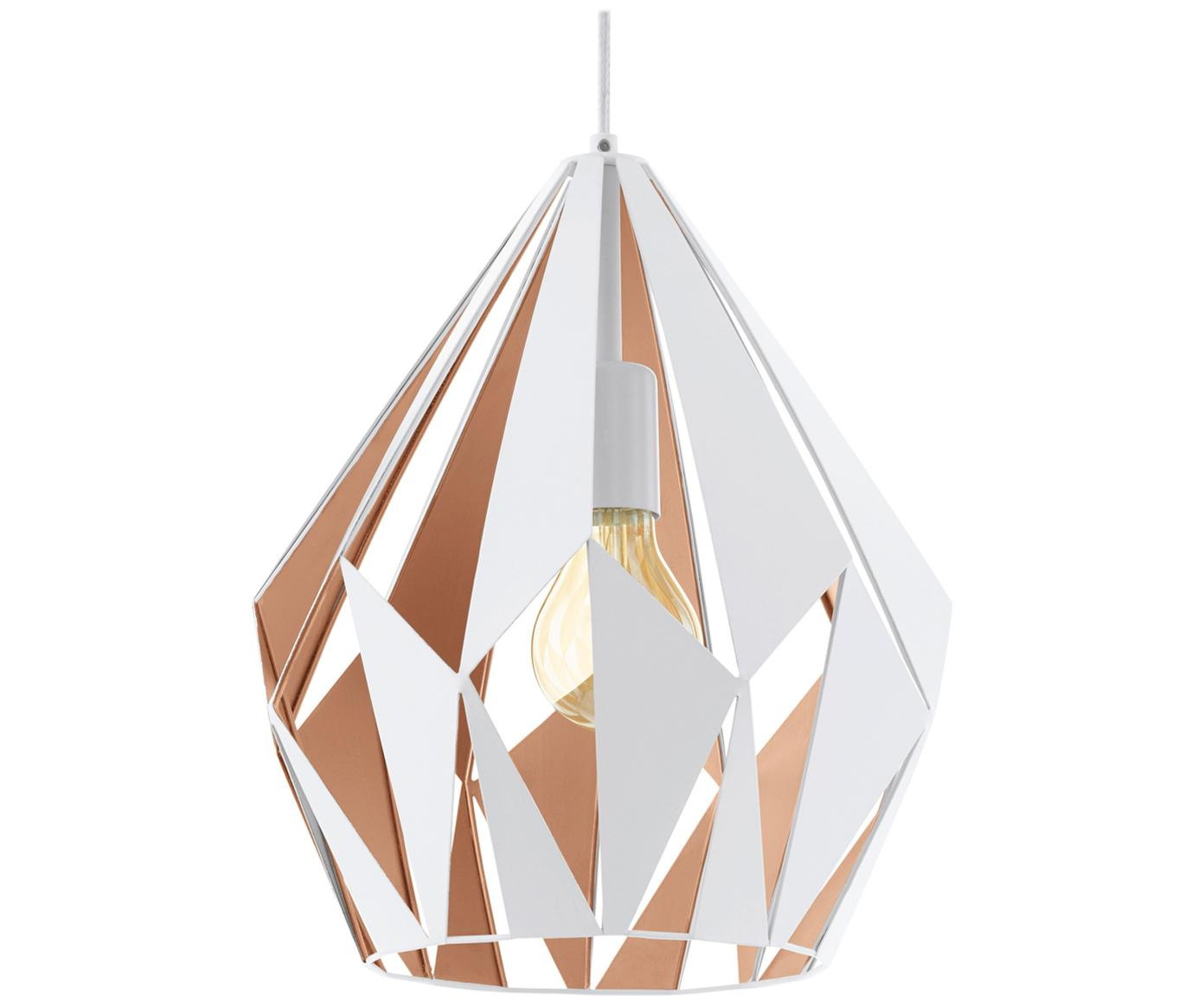 Scandi hanglamp Carlton, Gelakt staal, Buitenzijde: wit. Binnenzijde: roségoudkleurig, Ø 31 x H 40 cm