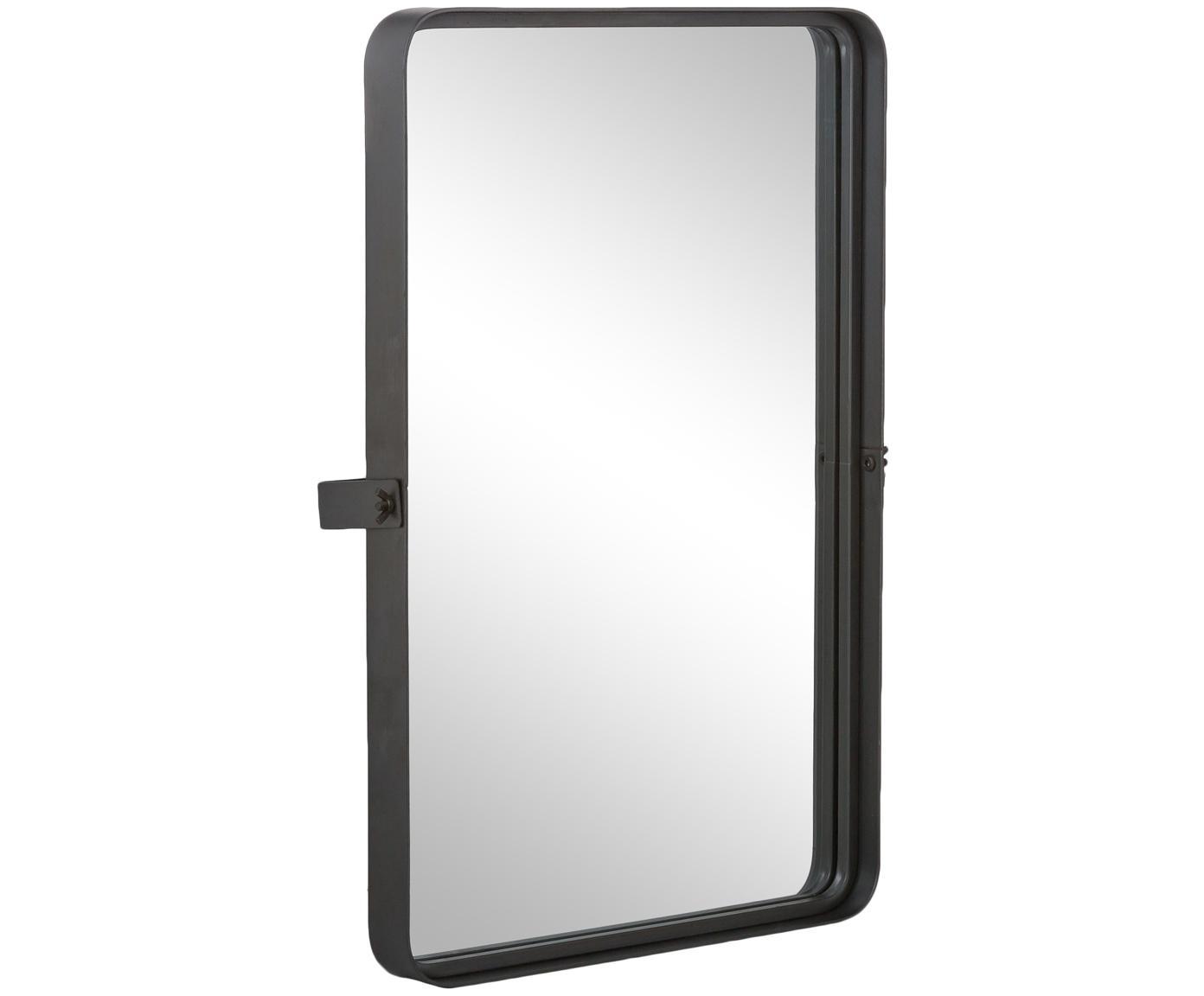 Rechthoekige wandspiegel Poke L met grijze lijst, Frame: metaal, Lijst: donkergrijs. Spiegelvlak: spiegelglas, 41 x 60 cm