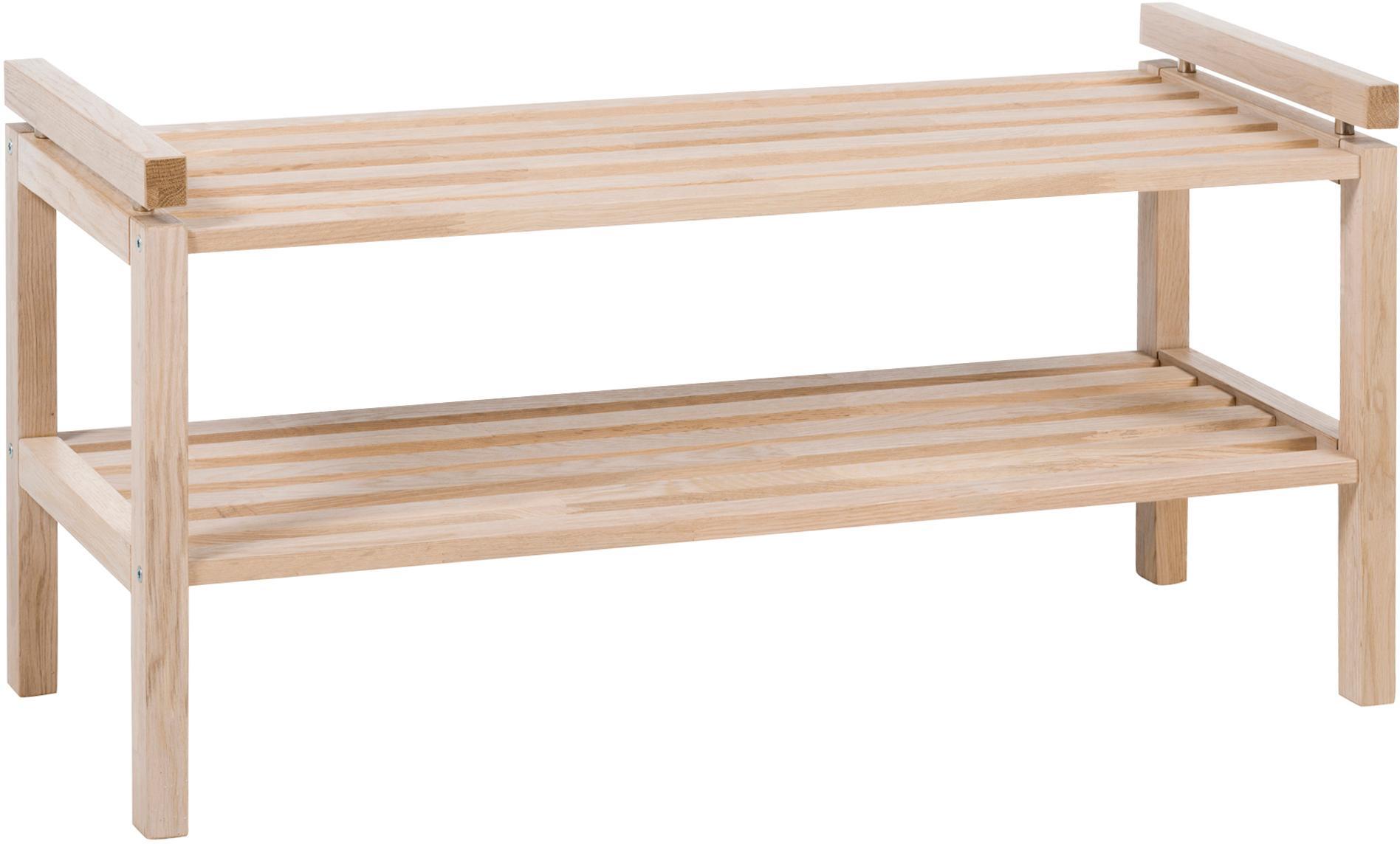 Scarpiera in legno con 2 ripiani Confetti, Legno di quercia massiccio, verniciato, Legno di quercia bianco lavato, Larg. 80 x Alt. 40 cm
