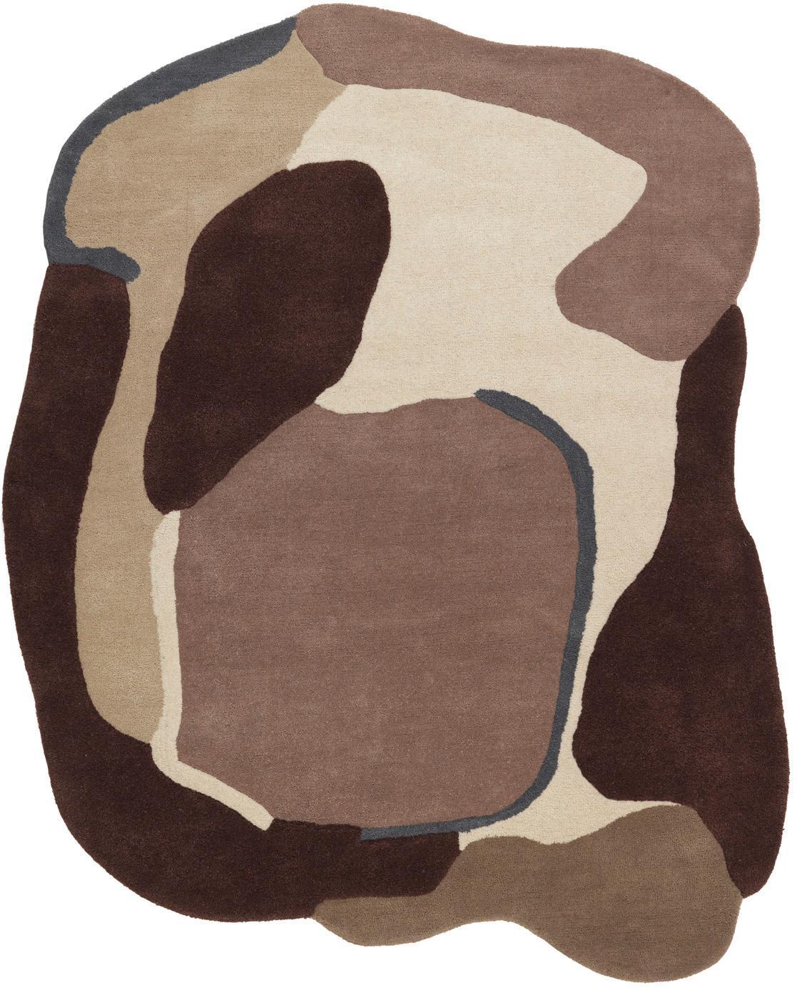 Alfombra de lana texturizada Oblivian, Parte superior: lana, Reverso: 55%algodón, 45%poliéste, Rojo, beige, An 140 x L 180 cm (Tamaño S)