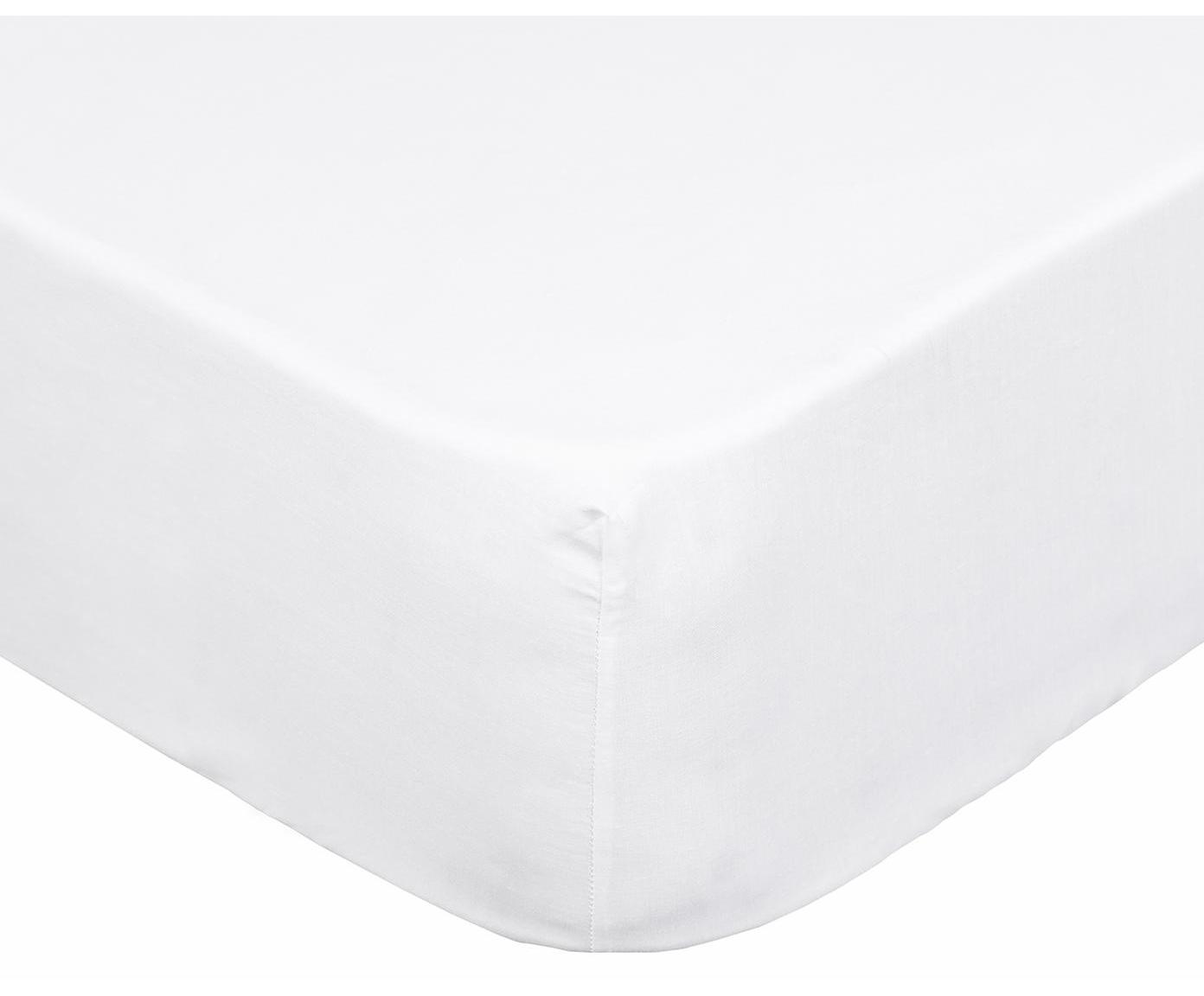 Sábana bajera Brunoba, 50%algodón, 50%poliéster, Blanco, Cama 135/140 cm (135 x 200 cm)