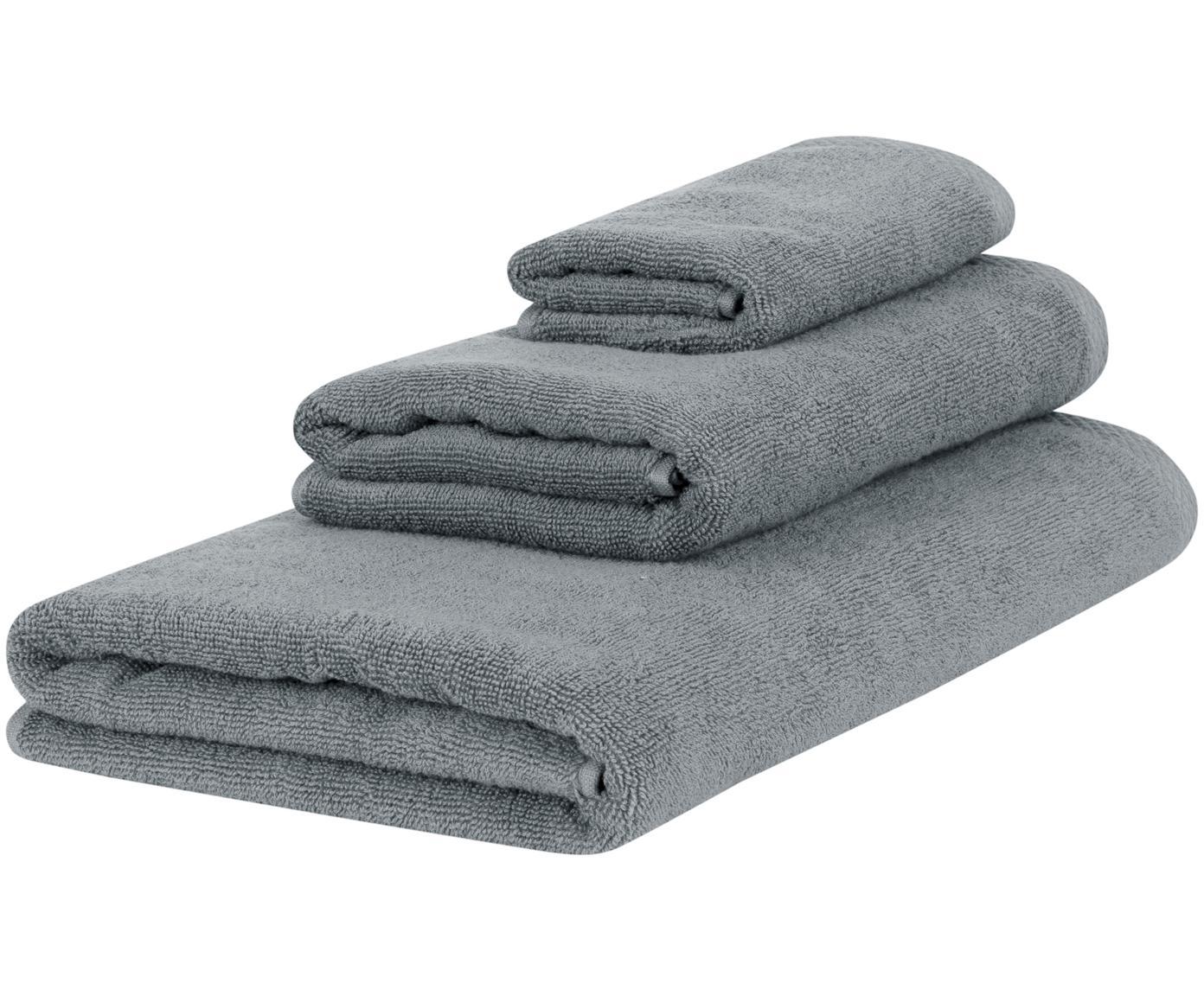 Set 3 asciugamani Comfort, Grigio scuro, Diverse dimensioni