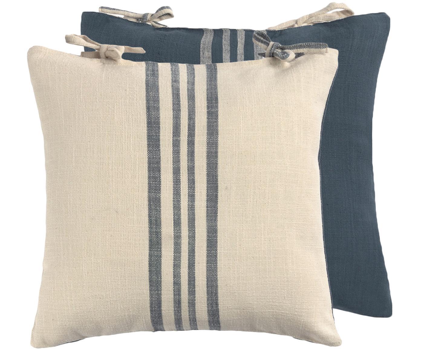 Federa arredo reversibile Caspio, Cotone, Blu, Beige, Larg. 45 x Lung. 45 cm