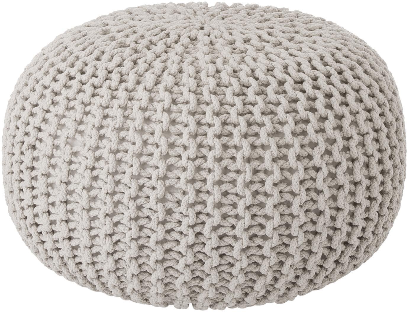 Puf de punto artesanal Dori, Tapizado: 100%algodón, Beige, Ø 55 x Al 35 cm
