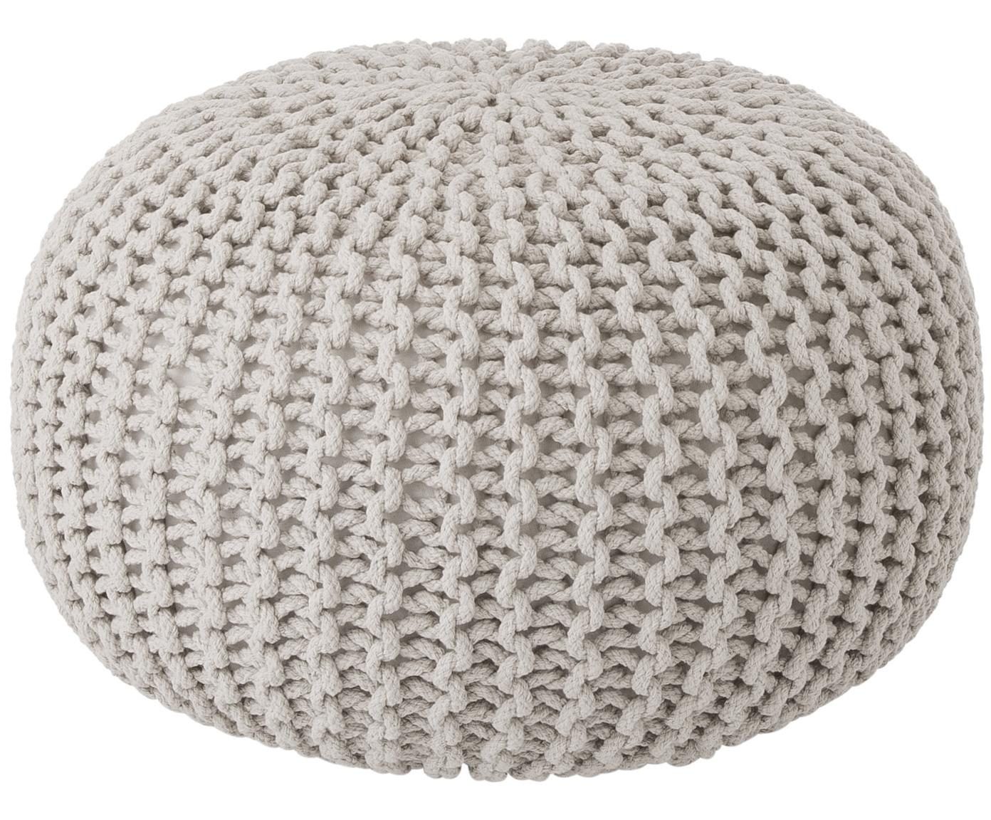 Puf de punto artesanal Dori, Tapizado: 100% algodón, Beige, Ø 55 x Al 35 cm