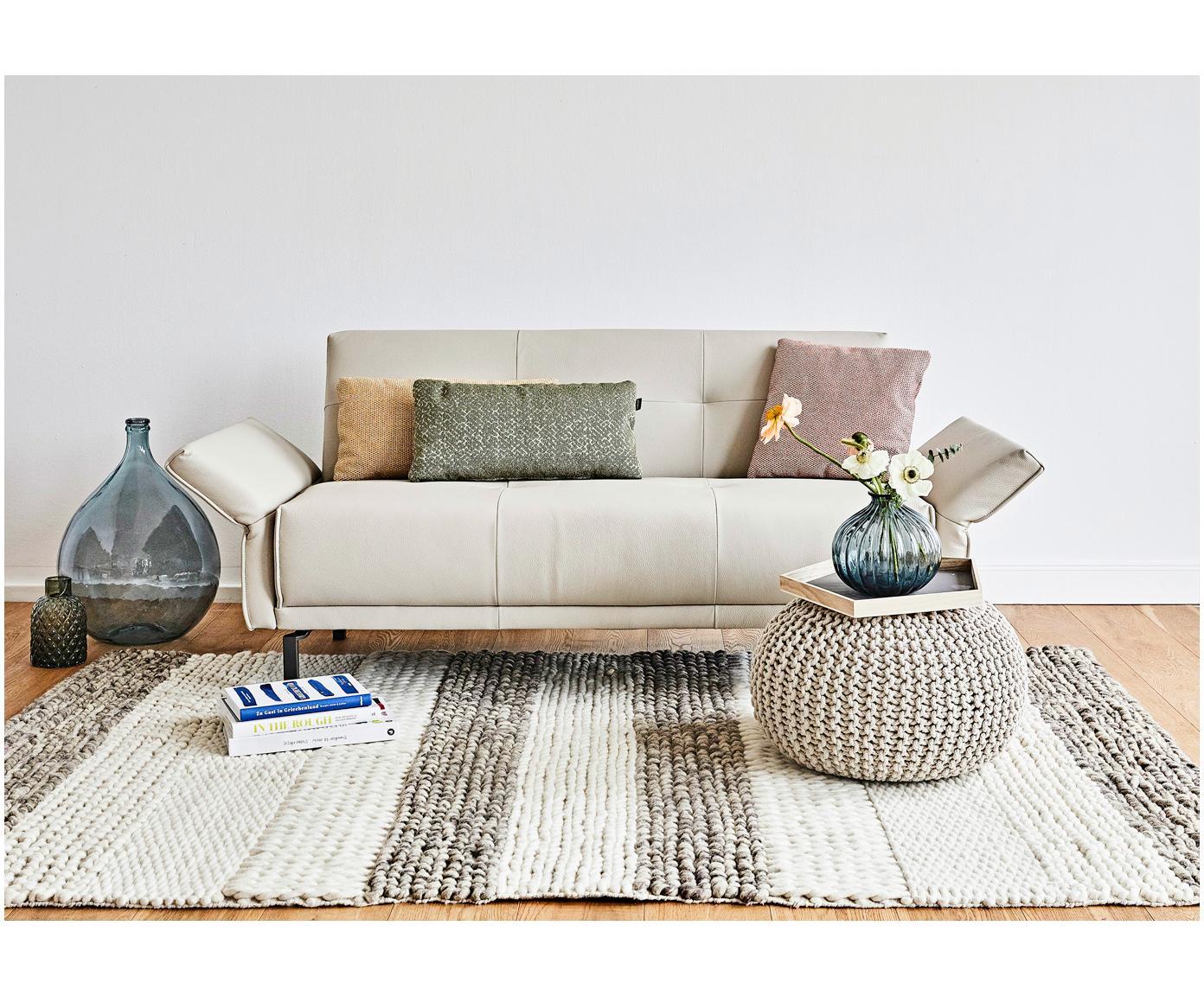 Ręcznie wykonany puf z dzianiny Dori, Tapicerka: 100% bawełna, Beżowy, Ø 55 x W 35 cm