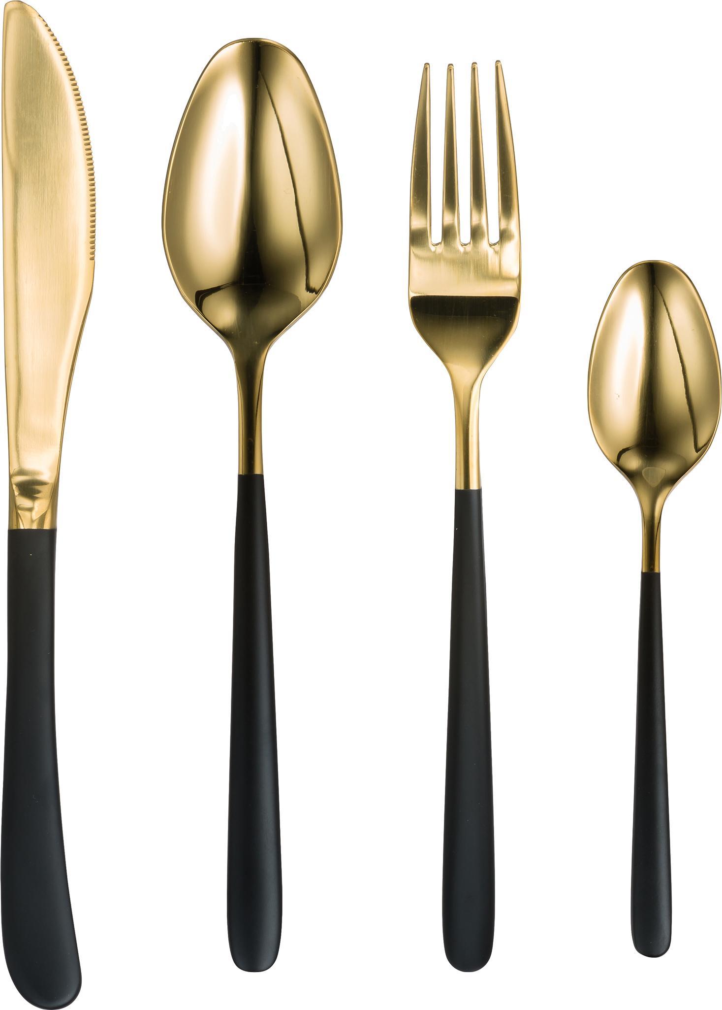 Besteck-Set Chiara in Gold mit schwarzen Griffen, 4-teilig, Edelstahl 18/10, Schwarz, Goldfarben, L 23 cm