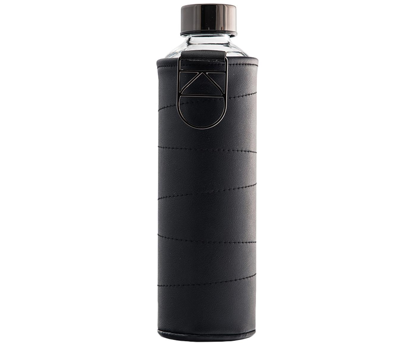 Trinkflasche Mismatch, Flasche: Borosilikatglas, Deckel: Edelstahl, Tritan, Siliko, Bezug: Kunstleder, Schwarz, Transparent, Ø 8 x H 26 cm