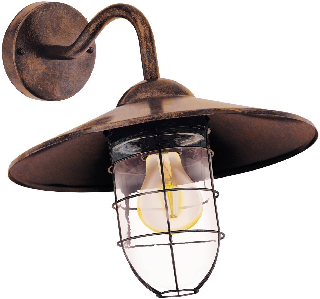 Aplique para exterior Melgoa, Pantalla: vidrio, Estructura: acero galvanizado, Cobre, An 30 x F 25 cm