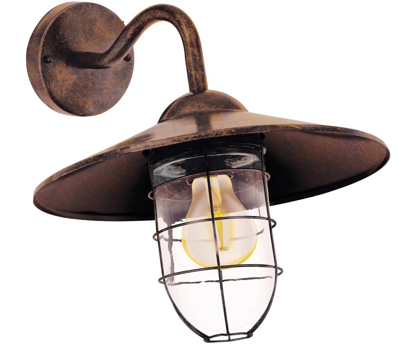 Outdoor wandlamp Melgoa, Verzinkt staal, glas, Koperkleurig, 30 x 25 cm