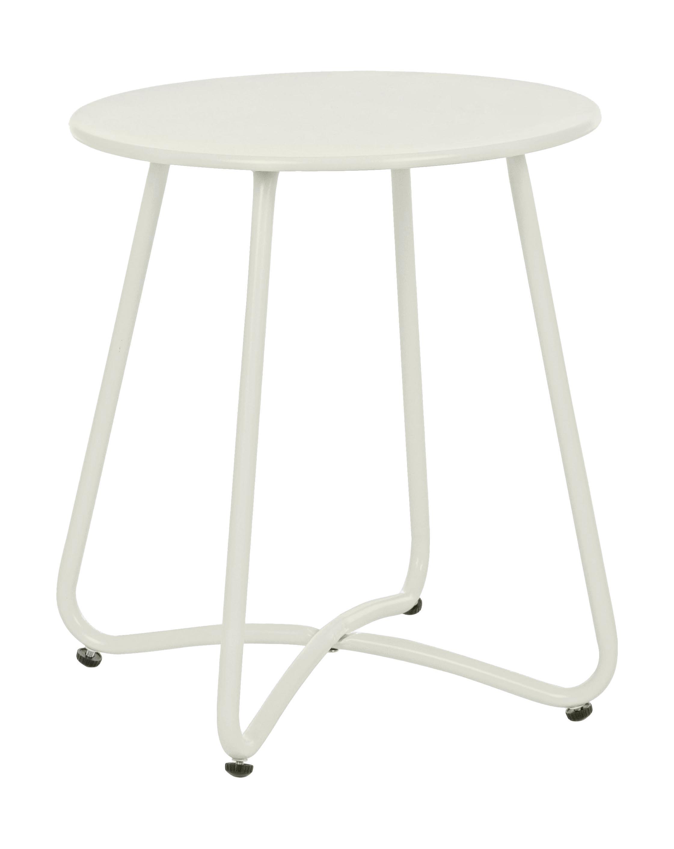 Tavolino da giardino in metallo Wissant, Acciaio verniciato a polvere, Bianco, Ø 40 x Alt. 45 cm