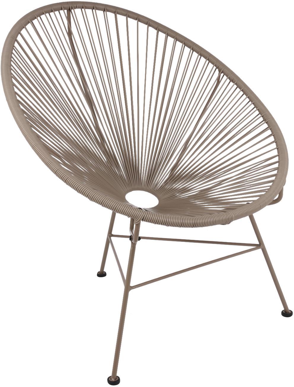 Loungesessel Bahia aus Kunststoff-Geflecht, Sitzfläche: Kunststoff, Gestell: Metall, pulverbeschichtet, Kunststoff: Taupe. Gestell: Taupe, B 81 x T 73 cm