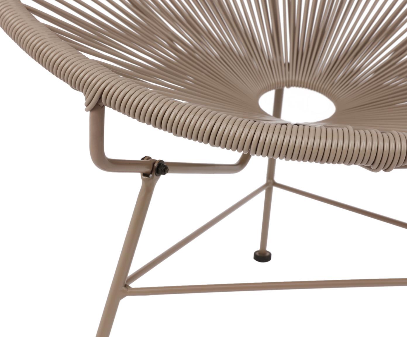 Fotel wypoczynkowy Bahia, Stelaż: metal malowany proszkowo, Tworzywo sztuczne: taupe Stelaż: taupe, S 81 x G 73 cm