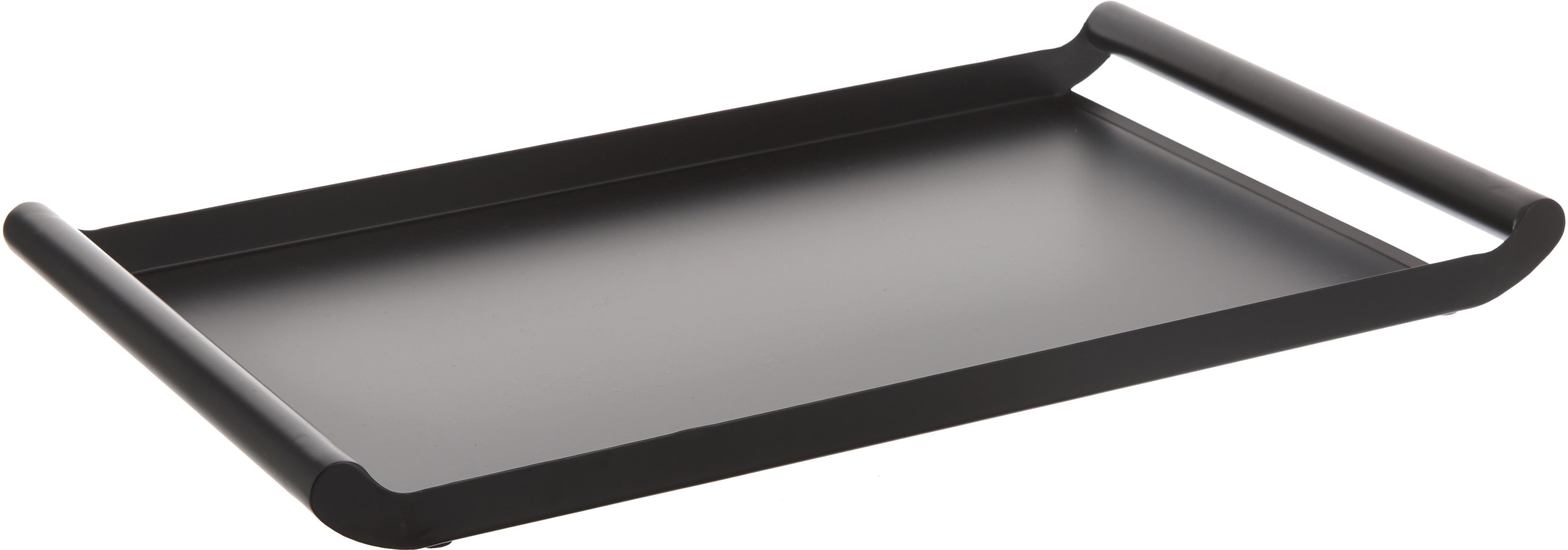 Vassoio Charlie in nero, Metallo rivestito, Nero, Larg. 50 x Prof. 30 cm