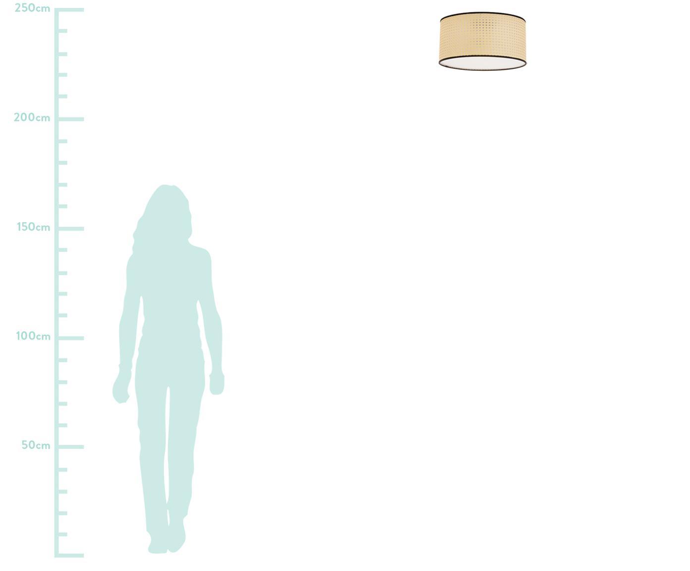 Deckenleuchte Vienna aus Wiener Geflecht, Lampenschirm: Kunststoff, Baldachin: Metall, pulverbeschichtet, Diffusorscheibe: Acryl, Lampenschirm: Beige, SchwarzBaldachin: Mattschwarz, ∅ 40 x H 20 cm