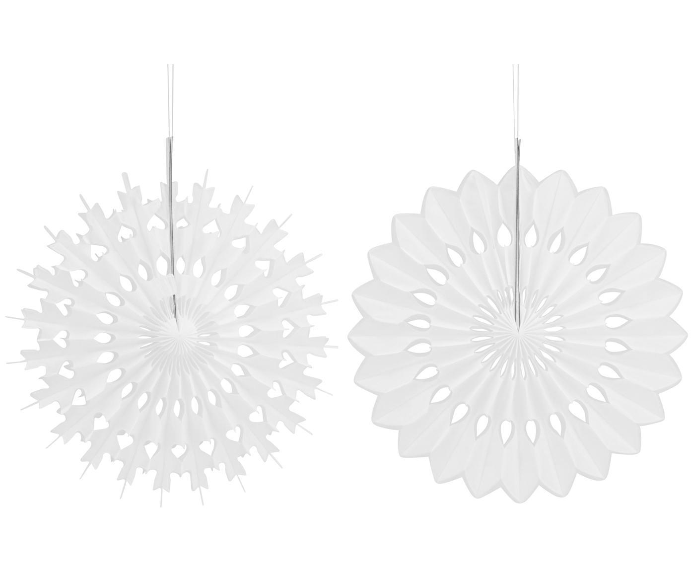 Decoratieve hangersset Cuta, 6-delig, Papier, Wit, Ø 20 cm