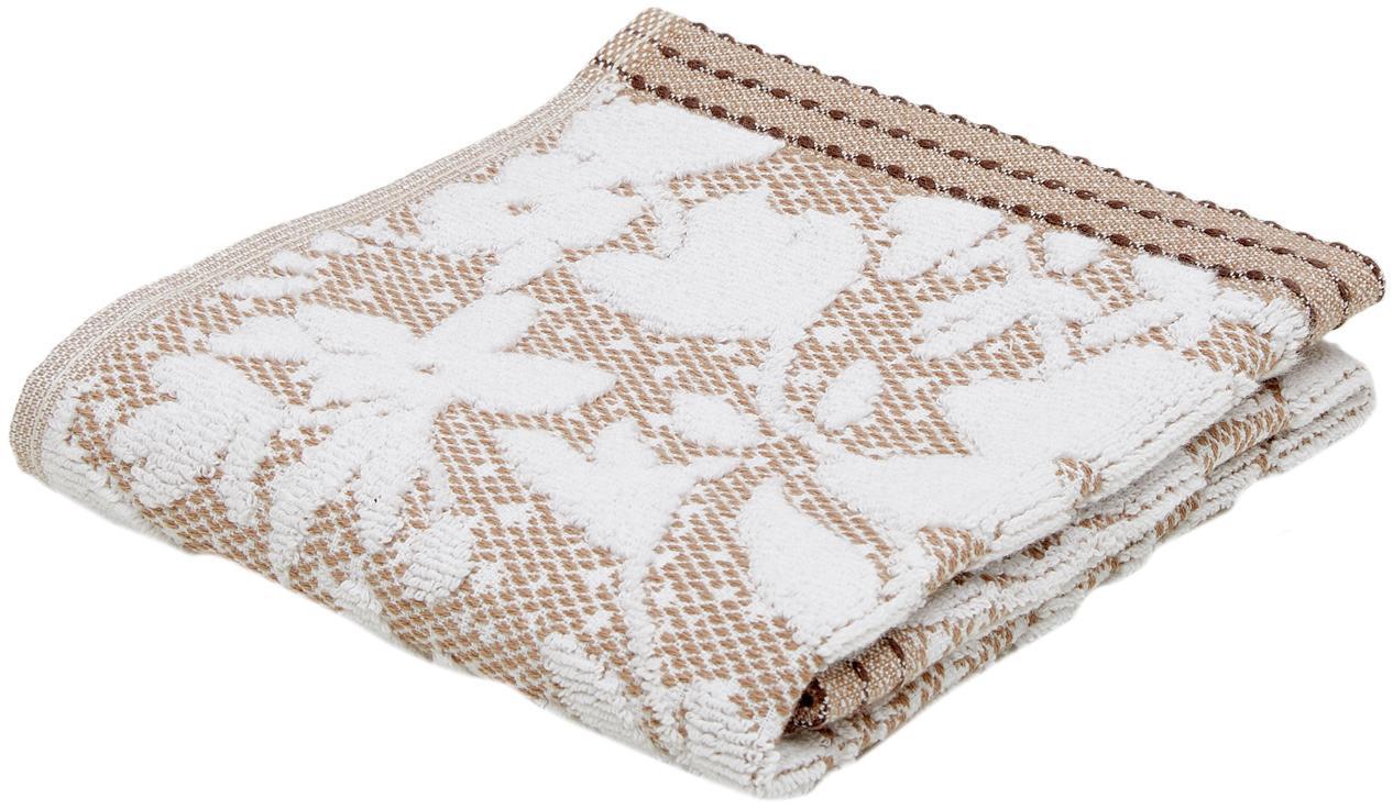 Handdoek Matiss met hoog-laaag bloemenpatroon, Katoen, middelzware kwaliteit, 550 g/m², Wit, taupe, Gastendoekje