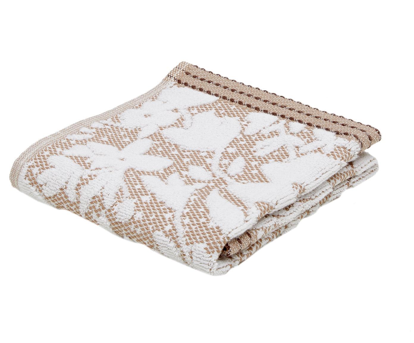 Handtuch Matiss mit floralem Hoch-Tief-Muster, Weiß, Taupe, Gästehandtuch