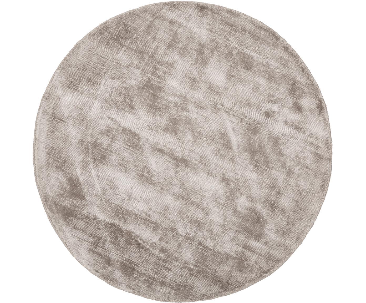 Handgeweven viscose vloerkleed Jane, Bovenzijde: 100% viscose, Onderzijde: 100% katoen, Taupe, Ø 200 cm (maat L)