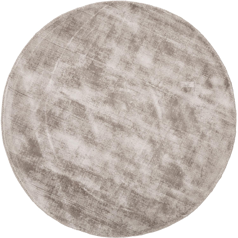 Rond handgeweven viscose vloerkleed Jane in taupe, Bovenzijde: 100% viscose, Onderzijde: 100% katoen, Taupe, Ø 120 cm (maat S)