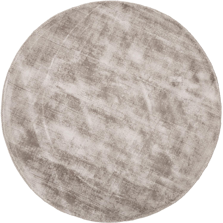 Alfombra redonda artesanal de viscosa Jane, Parte superior: 100%viscosa, Reverso: 100%algodón, Gris pardo, Ø 120 cm (Tamaño S)
