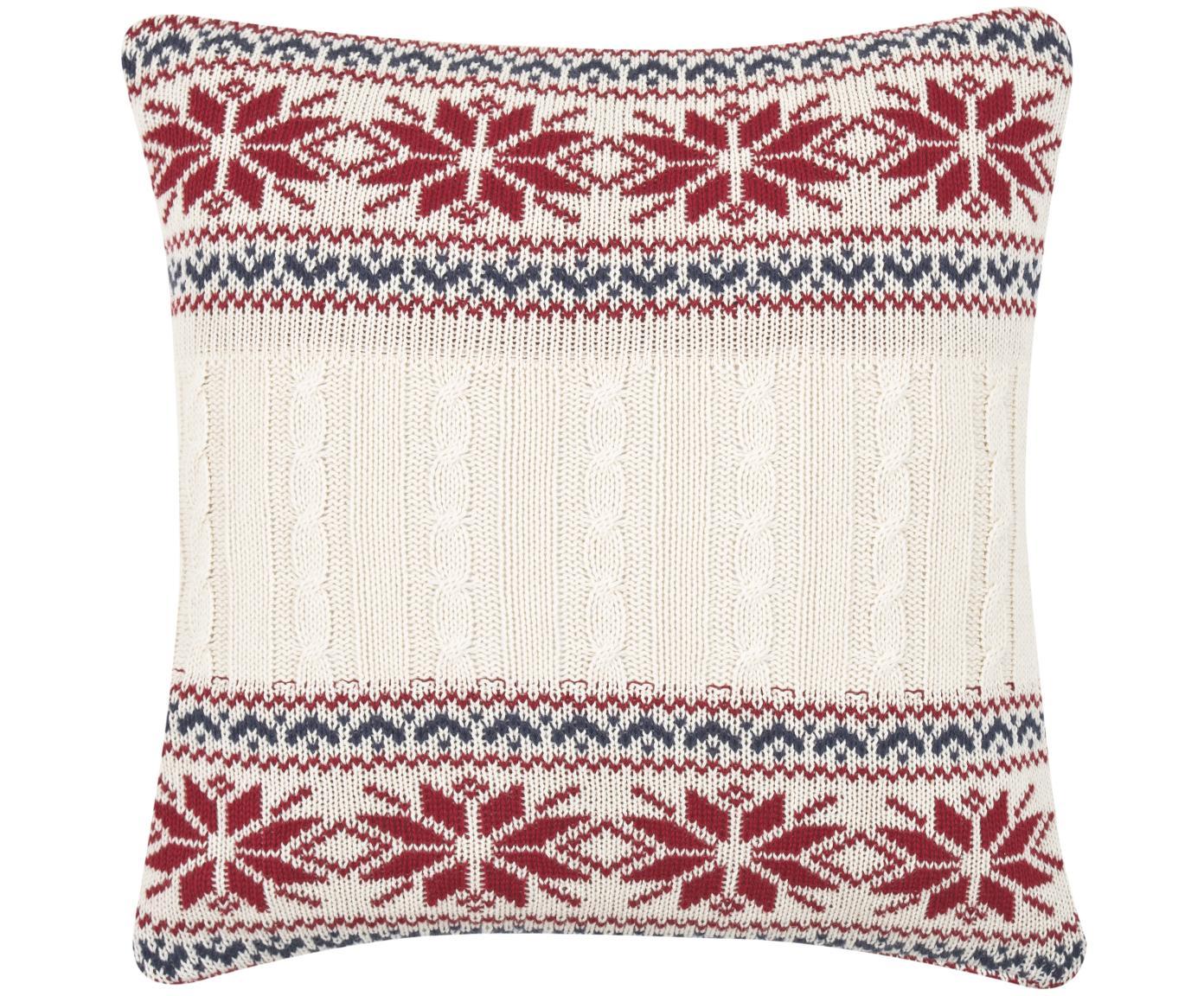 Dzianinowa poszewka na poduszkę Flemming, 100% bawełna, Kremowy, czerwony, ciemnoniebieski, S 40 x D 40 cm