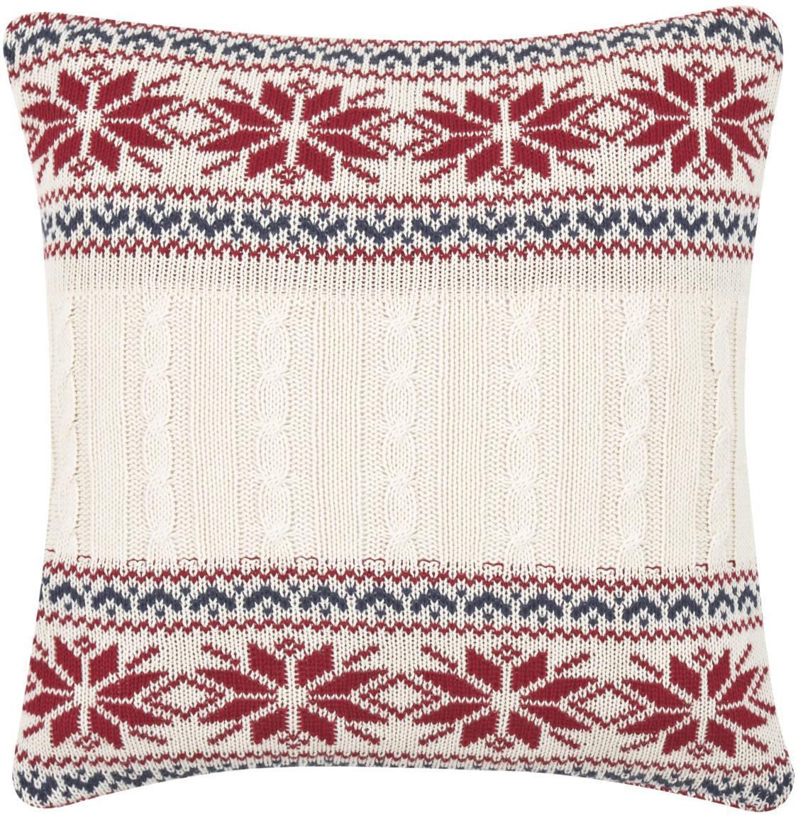 Strick-Kissenhülle Flemming mit winterlichem Muster, Baumwolle, Cremeweiß, Rot, Dunkelblau, 40 x 40 cm
