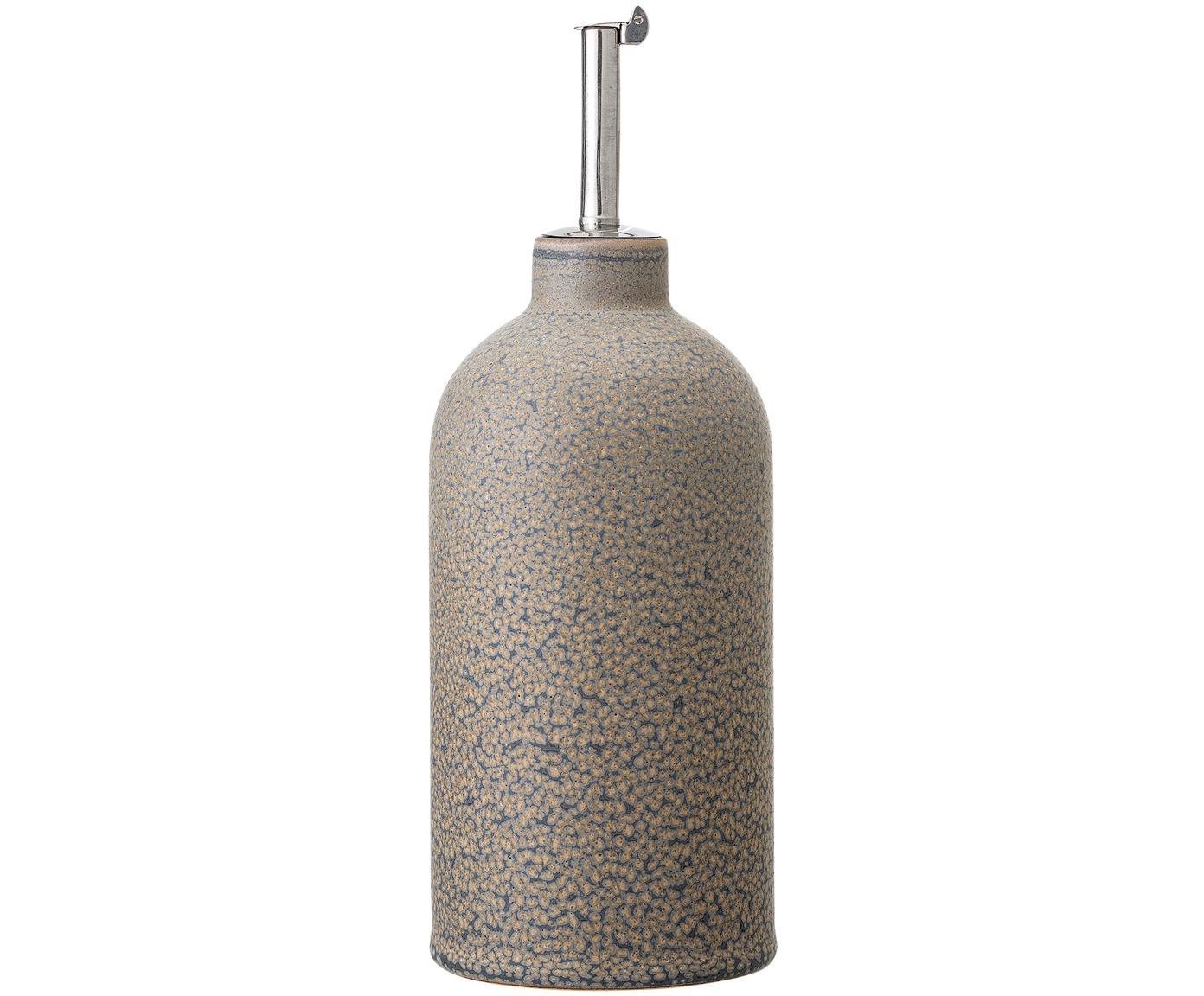 Handgefertigter Essig- und Öl-Spender Kendra, Steingut, Edelstahl, Greige, Ø 8 x H 20 cm