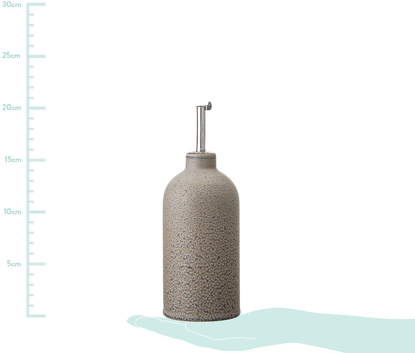 Handgemachter Essig- und Öl-Spender Kendra, Steingut, Edelstahl, Greige, Ø 8 x H 20 cm