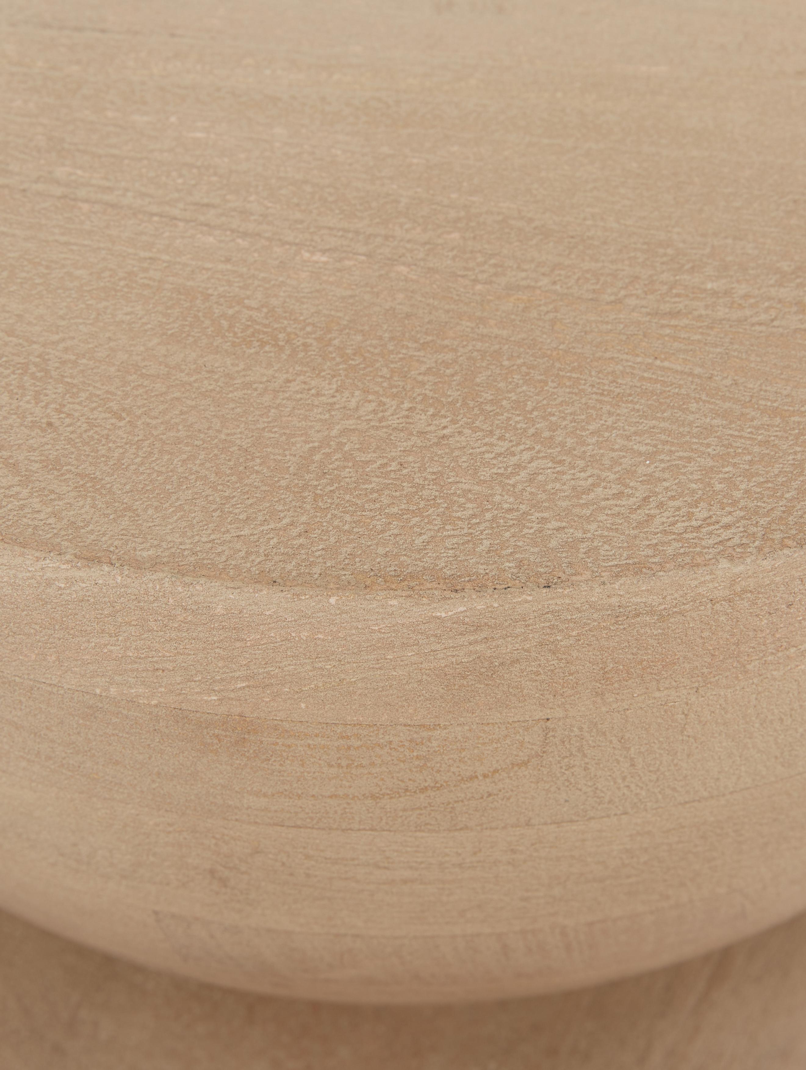 Bijzettafel Benno, Massief gelakt essenhout, Grijs gewassen mangohout, Ø 35 x H 50 cm
