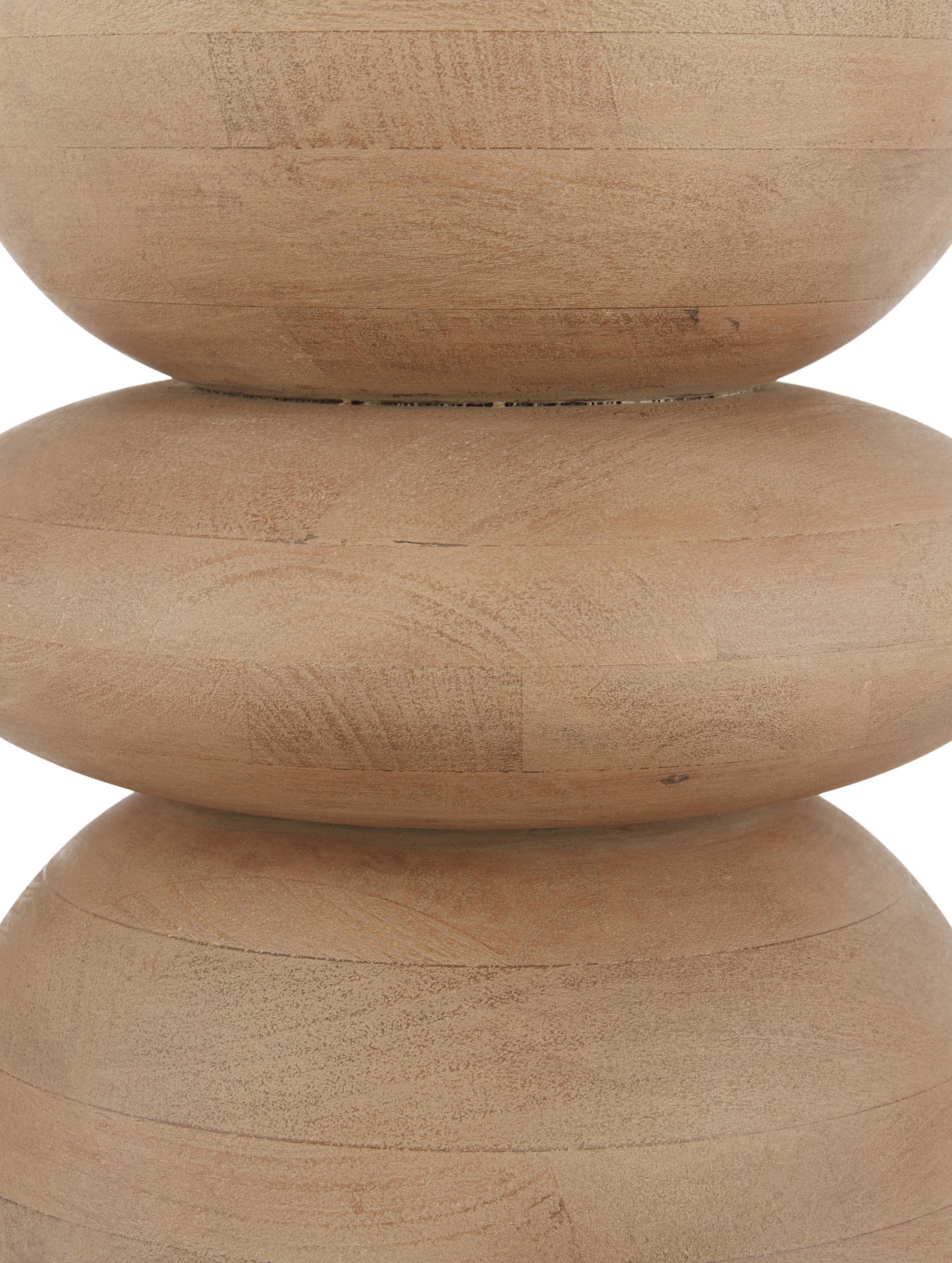 Tavolino rotondo in legno di mango  Benno, Legno di mango massiccio, verniciato, Legno di mango, grigio lavato, Ø 35 x Alt. 50 cm