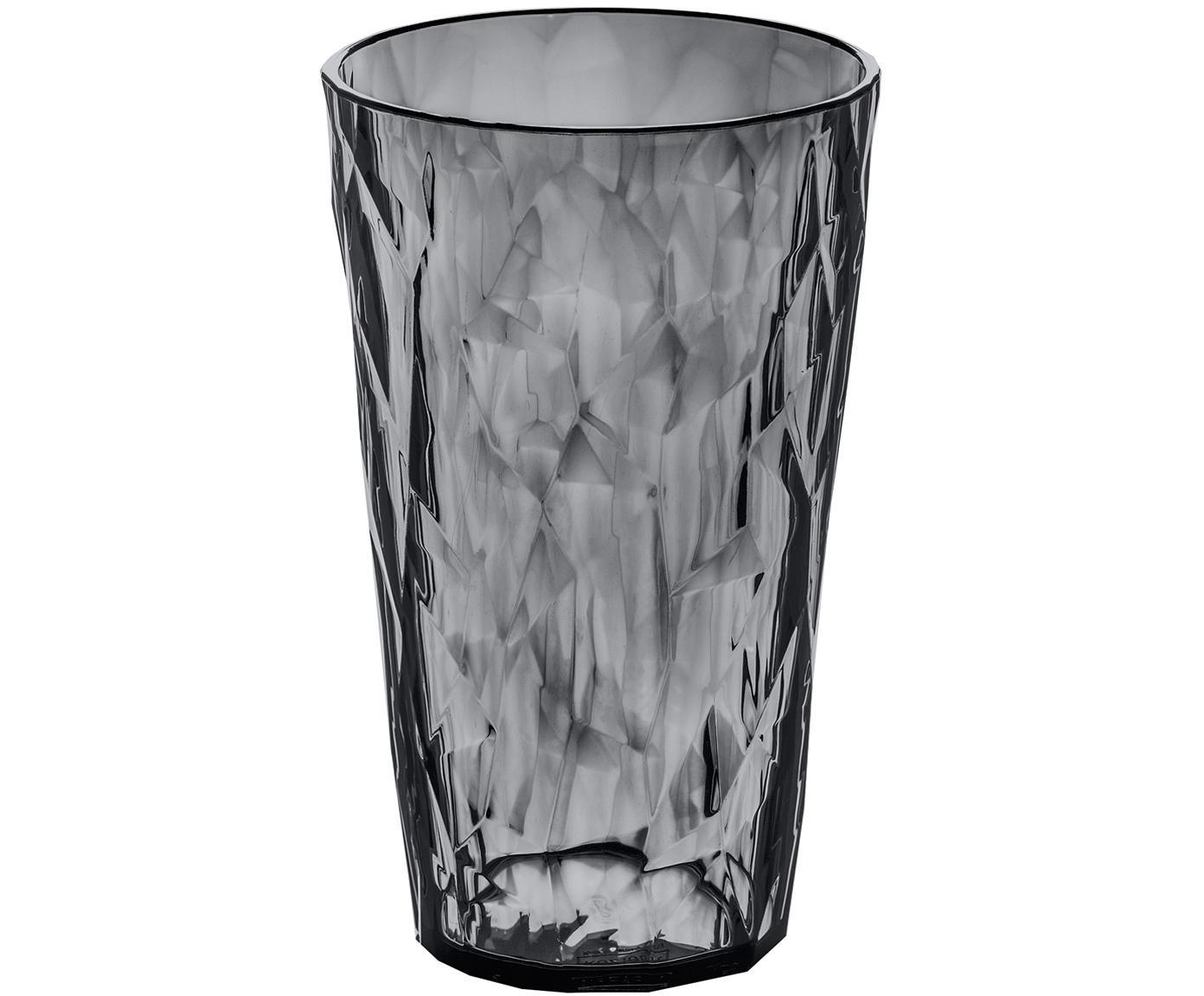Bicchieri in materiale sintetico Club, 6 pz., Materiale sintetico SAN senza BPA, Grigio trasparente, Ø 9 x A 14 cm