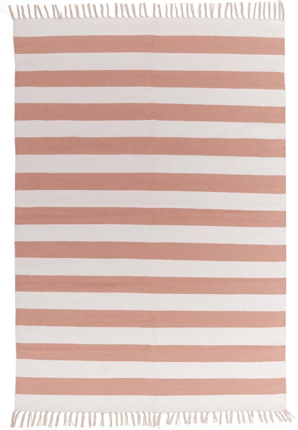 Gestreifter Baumwollteppich Malte in Koralle/Weiss, Korallrot, Weiss, B 140 x L 200 cm (Grösse S)