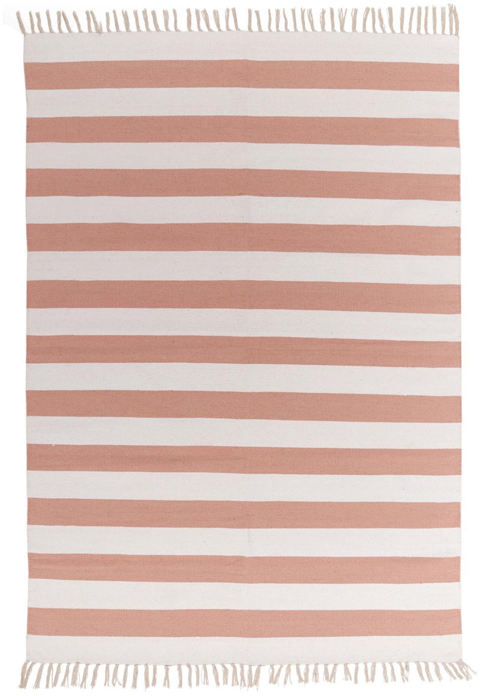 Gestreept vloerkleed Malte in roze/wit, Katoen, Roze, gebroken wit, B 140 x L 200 cm (maat S)