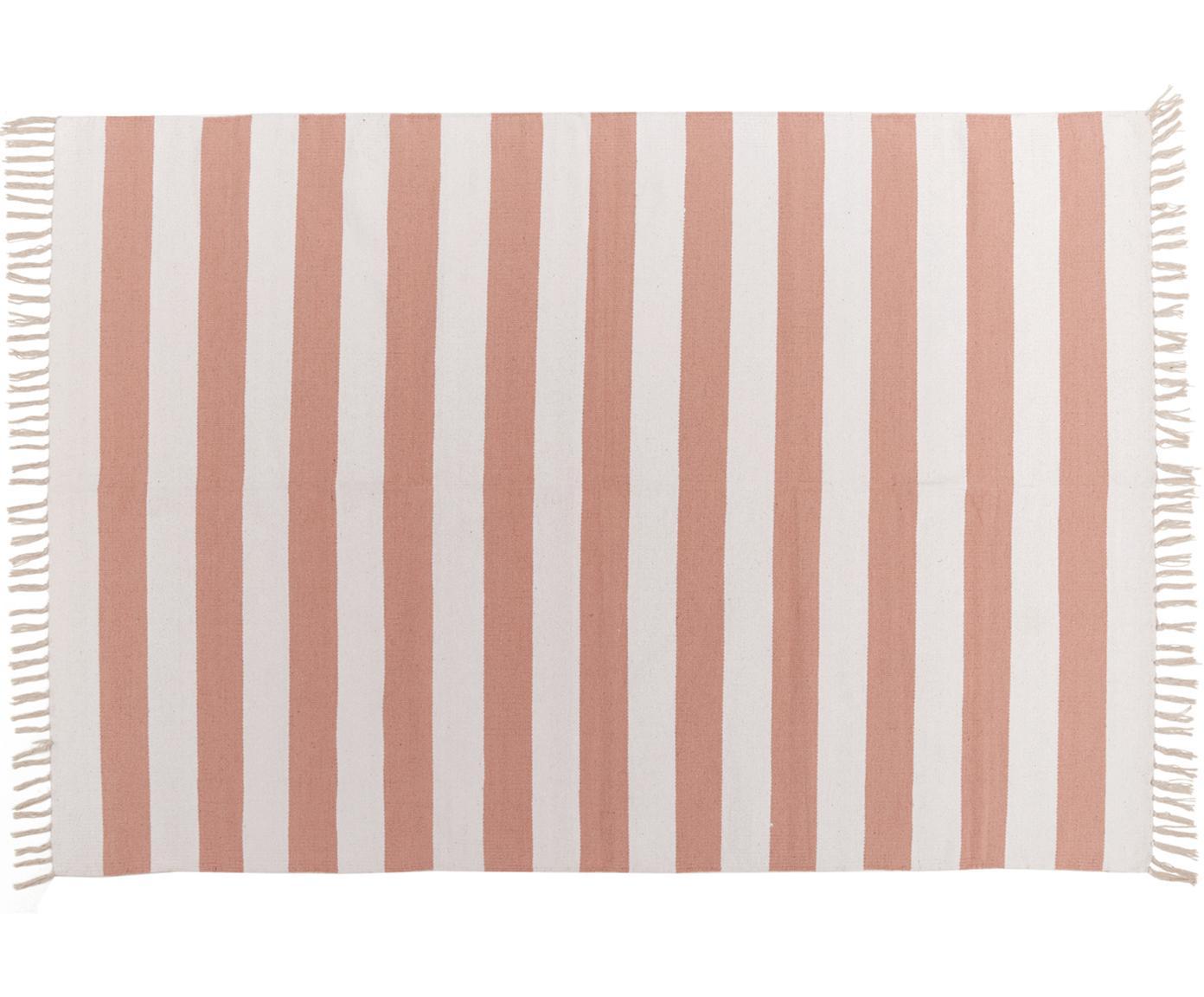 Gestreifter Baumwollteppich Malte in Koralle/Weiß, Korallrot, Weiß, B 140 x L 200 cm (Größe S)