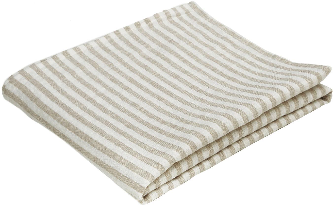 Tovaglia in lino Solami, Lino, Beige, bianco, Per 6-8 persone (Larg. 150 x Lung. 250 cm)