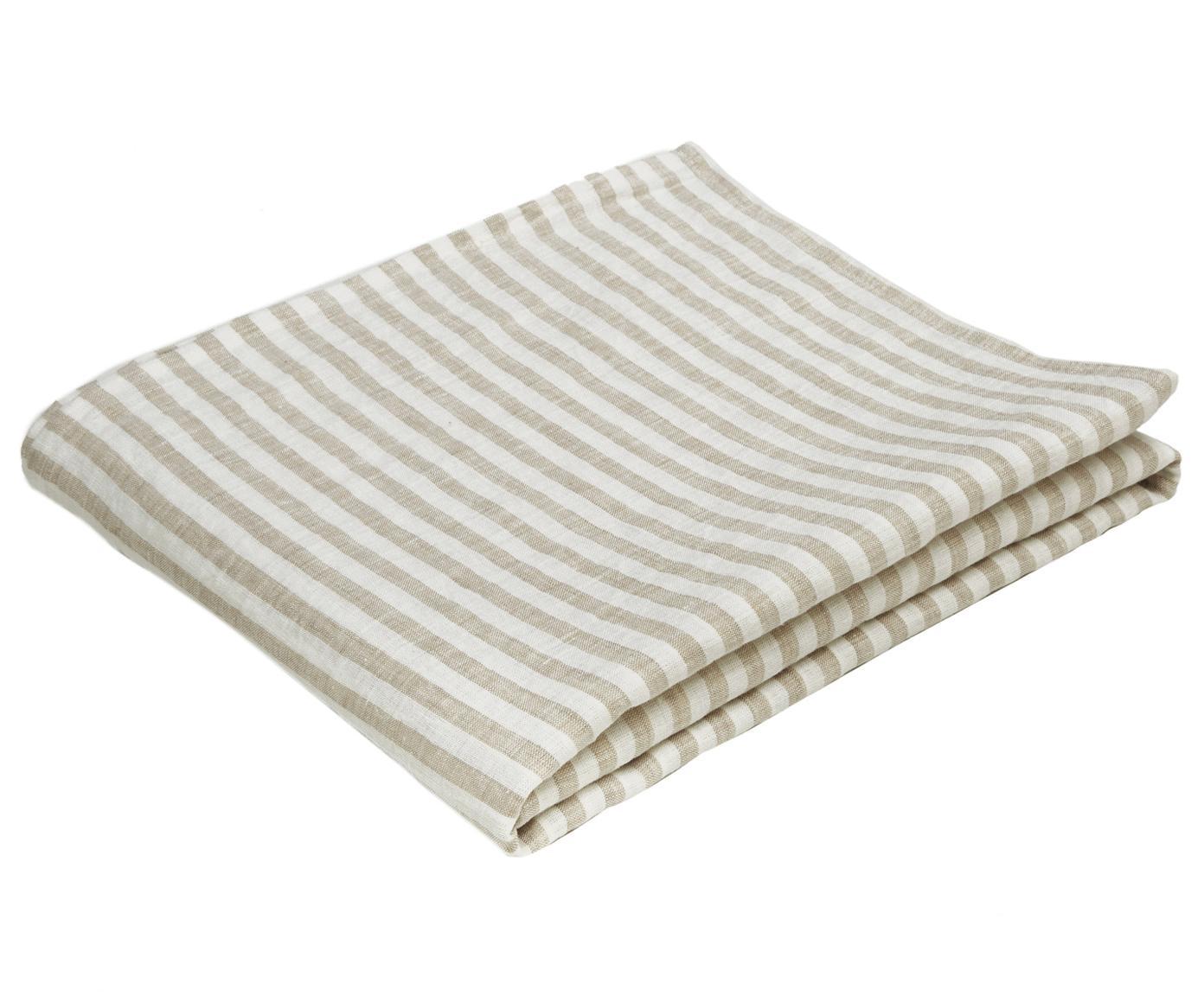 Mantel de lino Solami, Lino, Beige, blanco, De 6 a 8 comensales (An 150 x L 250 cm)