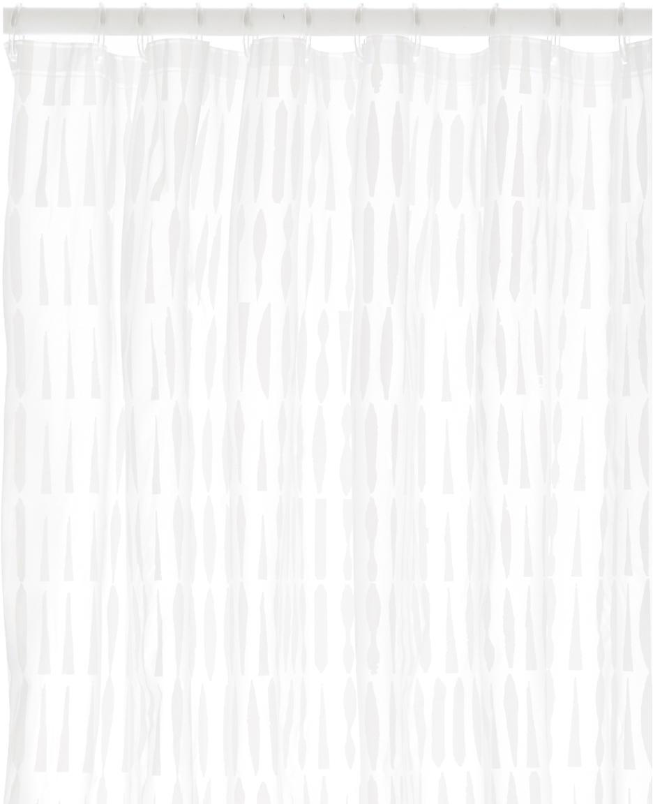 Douchegordijn Zora, Oeko-kunststof (PEVA), vrij van PVC Waterdicht, Transparant, wit, 180 x 200 cm