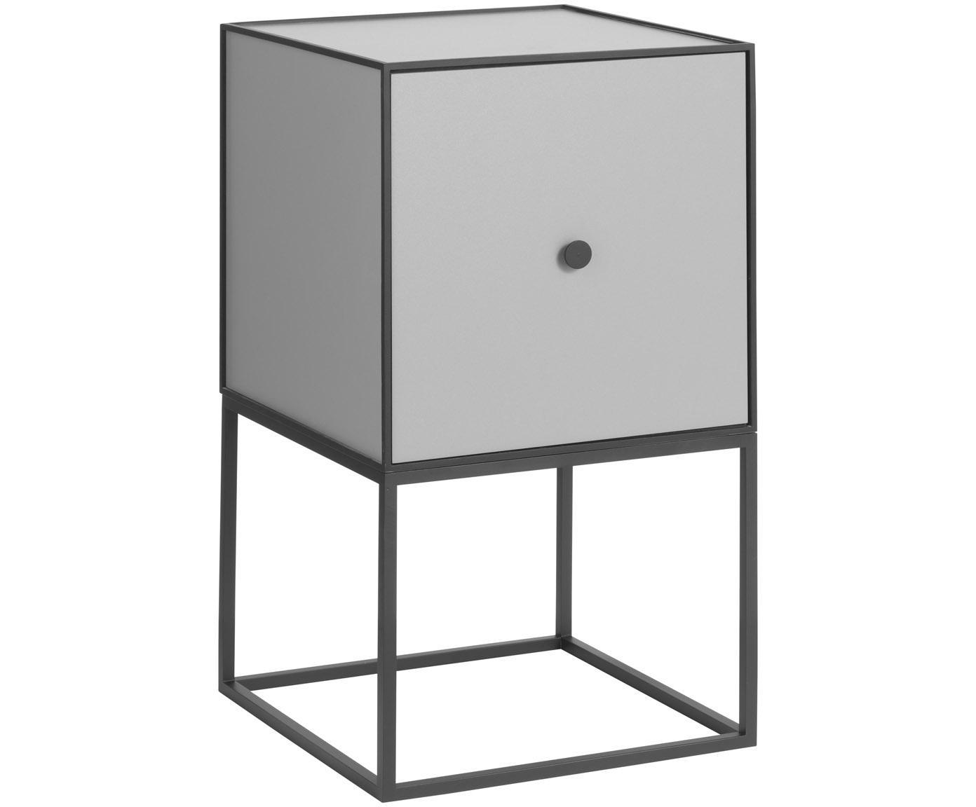 Mesilla de noche de diseño Frame, Cuerpo: tablero de fibras de dens, Estructura y marco: negro Cuerpo: gris oscuro, An 35 x Al 63 cm