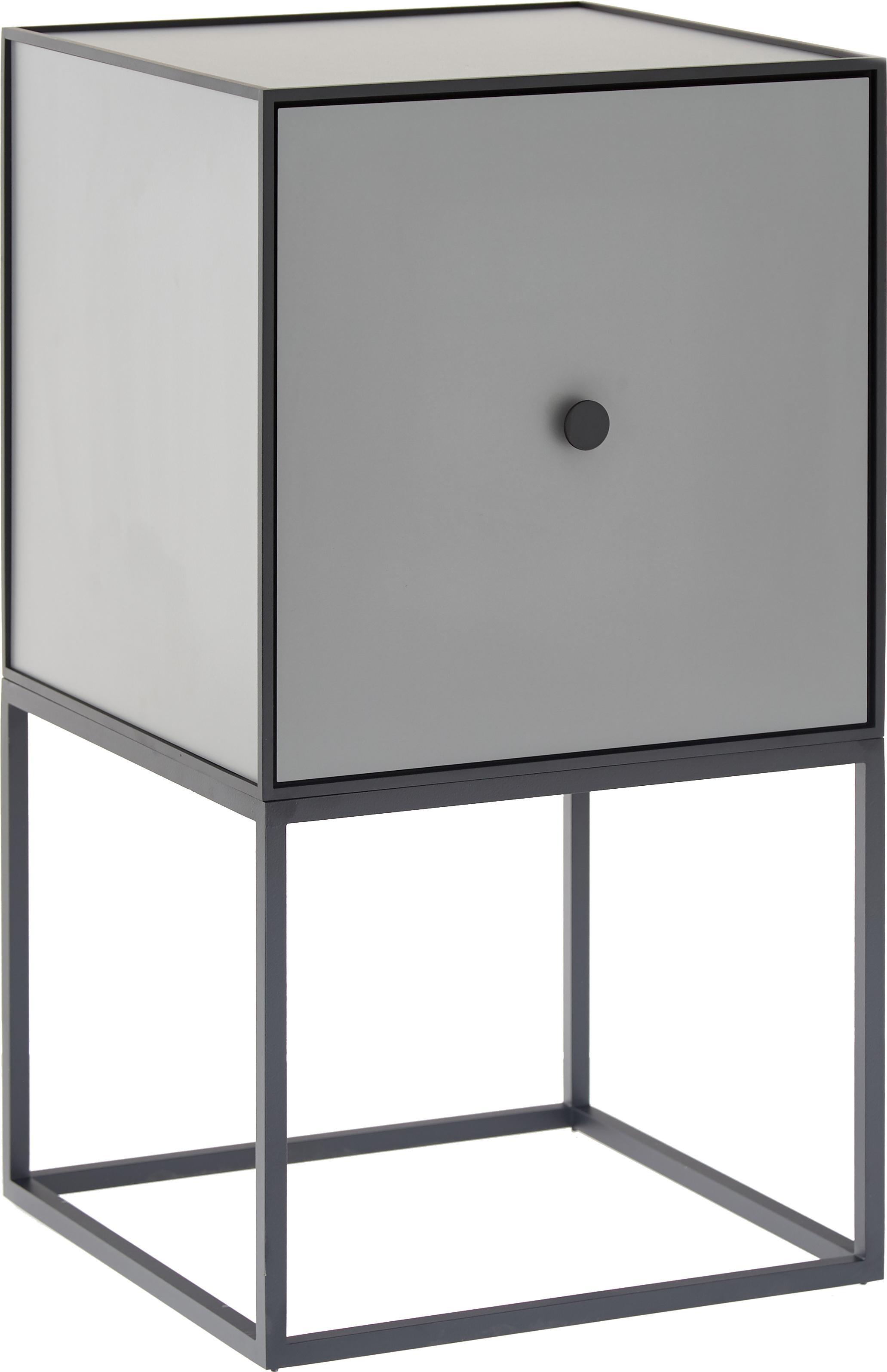 Design nachtkastje Frame, Frame en omlijsting: zwart. Kast: donkergrijs, 35 x 63 cm