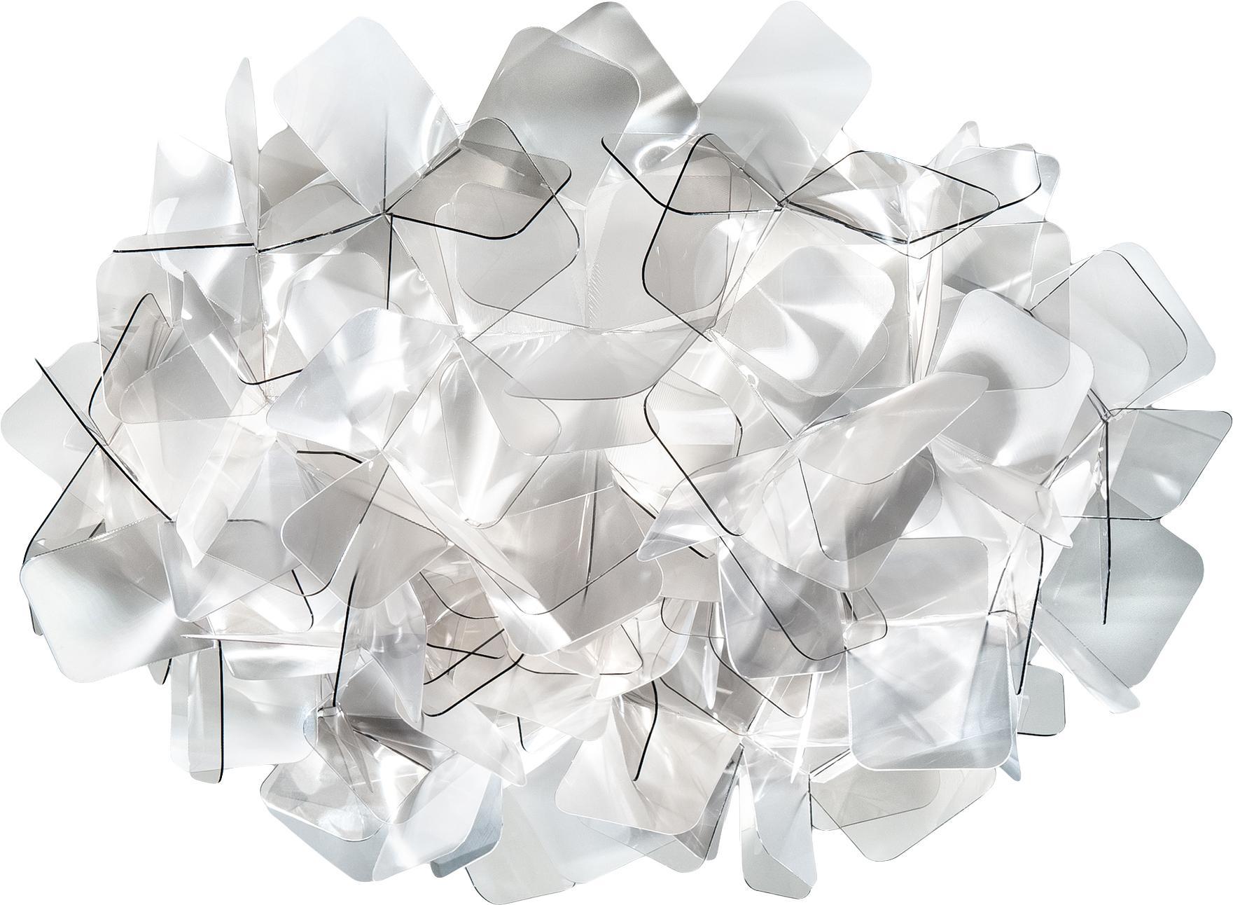 Handgefertigte Decken- und Wandleuchte Clizia, Technopolymere Lentiflex®, lichtablenkend und Cristalflex®, bruchfest, flexibel, Hellgrau, transparent, Ø 32 x H 15 cm