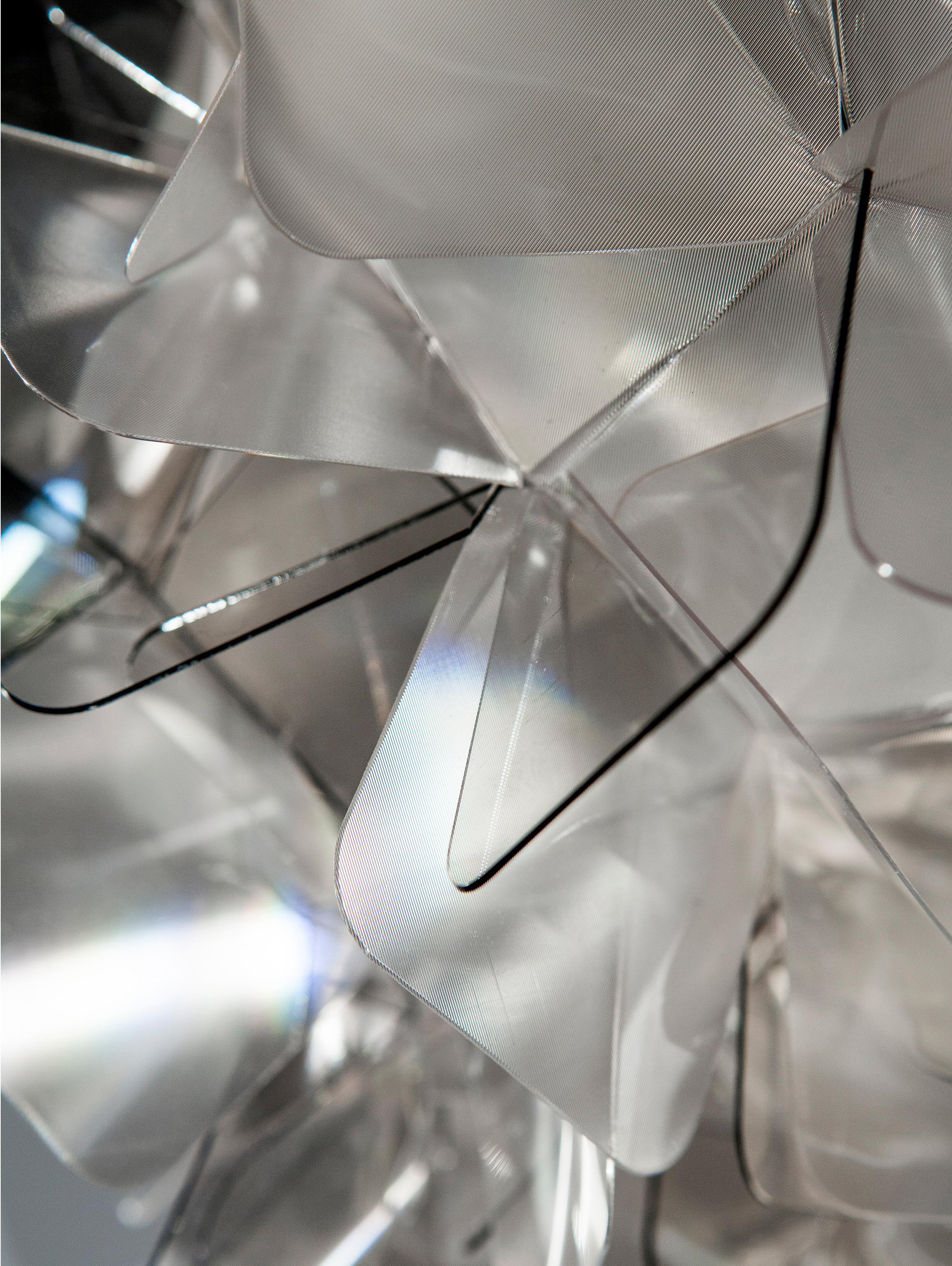 Plafonnier/applique fait main Clizia, Gris clair, transparent