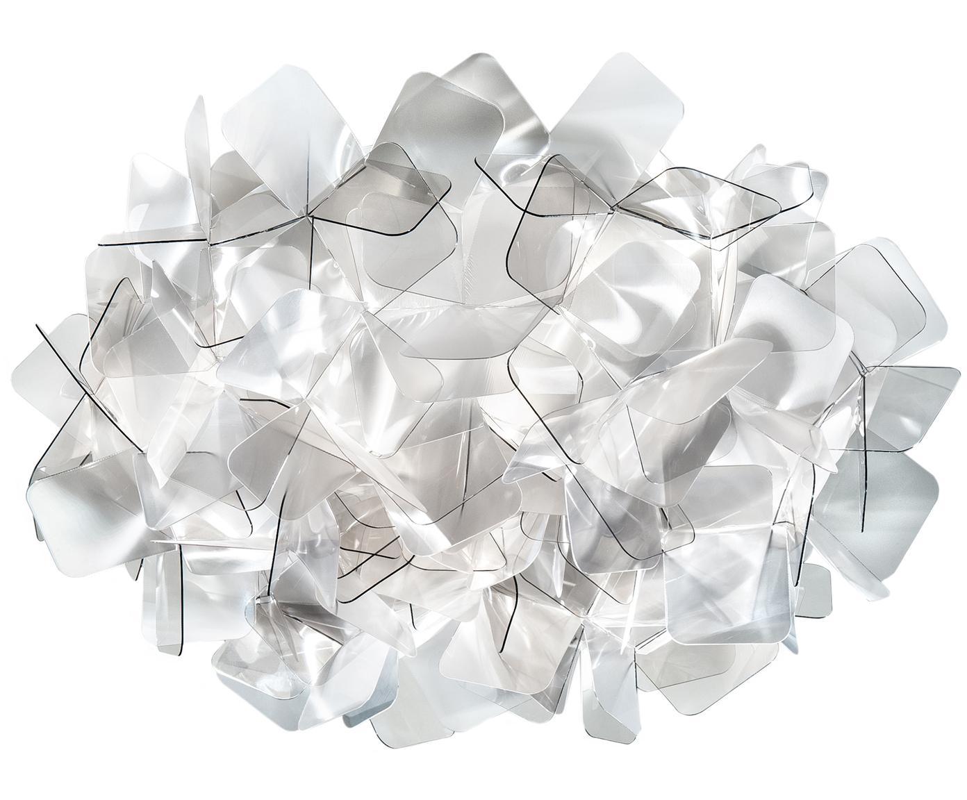 Handgemaakte wand- en plafondlamp Clizia, Technopolymeer Lentiflex®, lichtbrekend en Cristalflex®, onbreekbaart, flexibel, Lichtgrijs, transparant, Ø 32 x H 15 cm