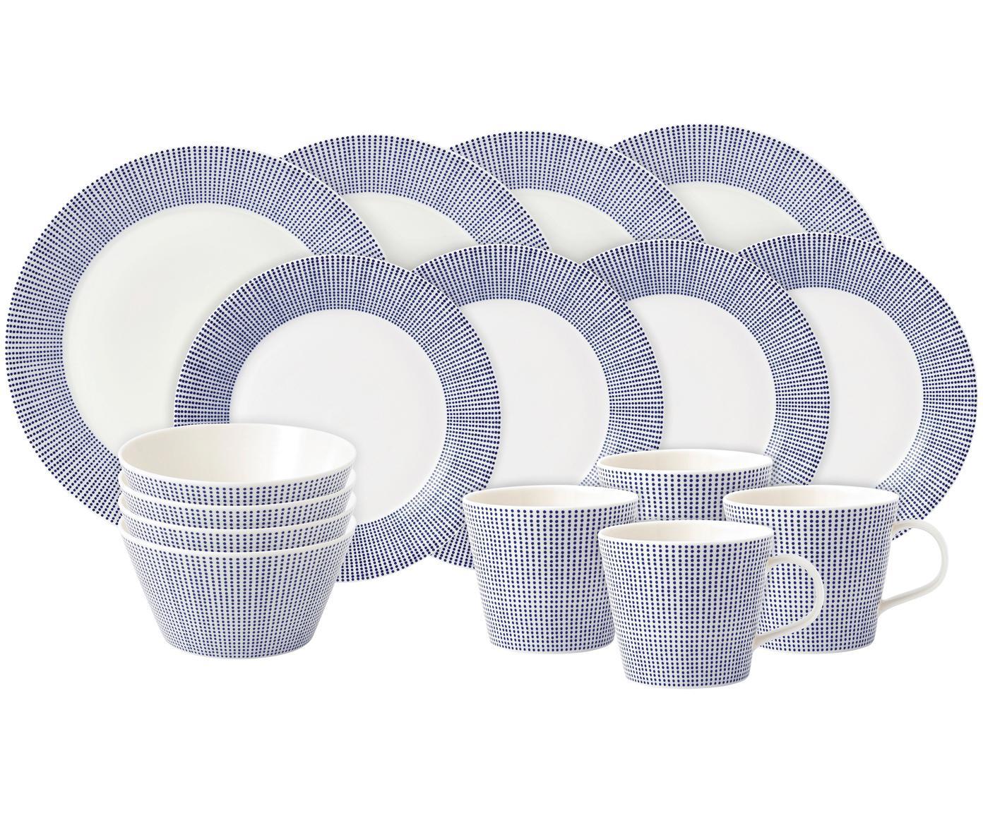 Gemustertes Porzellan-Geschirr-Set Pacific, 4 Personen (16-tlg.), Porzellan, Weiß, Blau, Sondergrößen