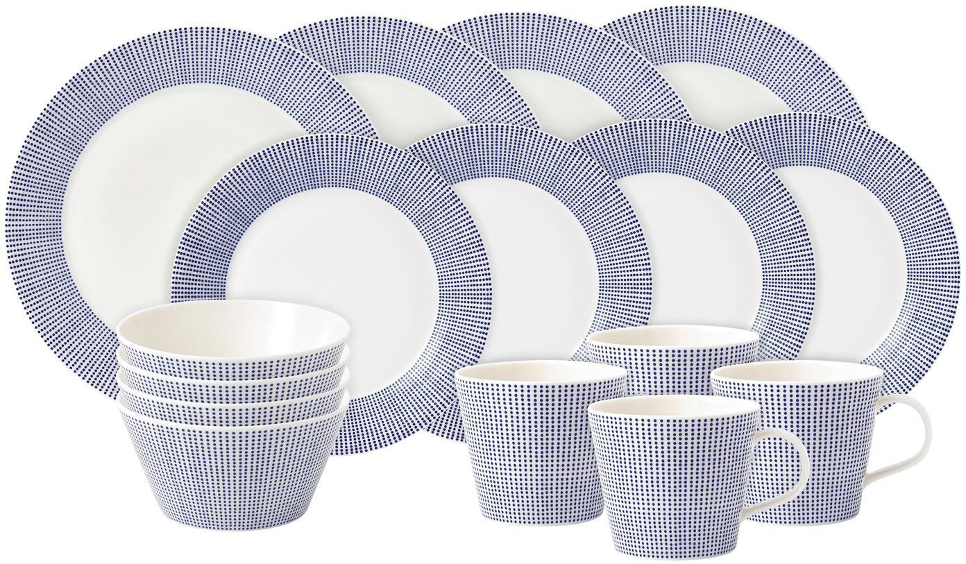 Komplet naczyń z porcelany Pacific, 16-elem., Porcelana, Biały, niebieski, Różne rozmiary