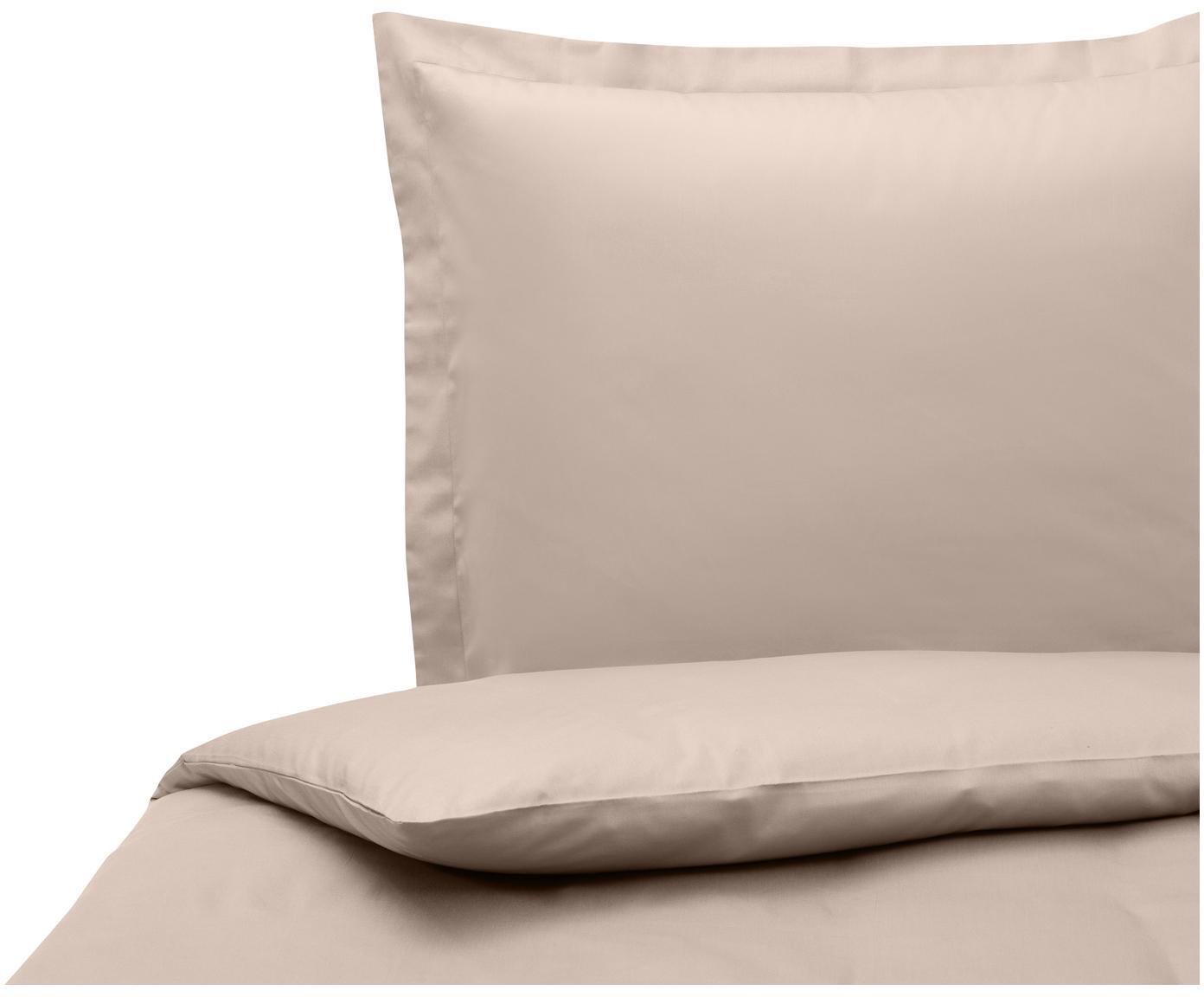 Katoensatijnen dekbedovertrek Premium, Weeftechniek: satijn, licht glanzend, Taupe, 140 x 200 cm