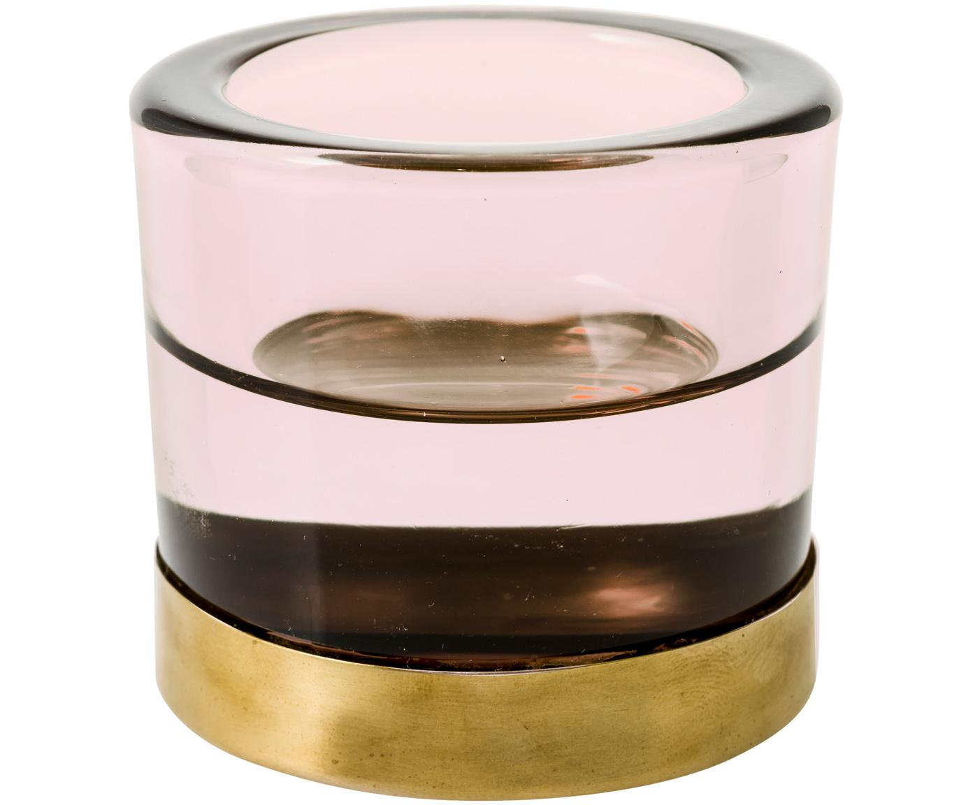 Portavelas Blanka, Vidrio, metal, Rosa, dorado, Ø 6 x Al 6 cm