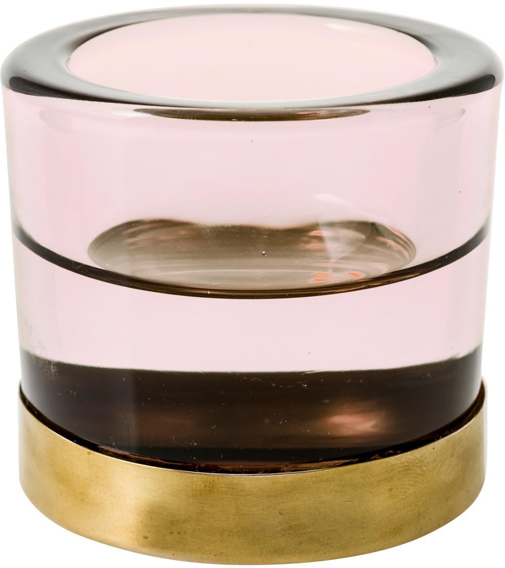 Teelichthalter Blanka, Glas, Metall, Rosa, Goldfarben, Ø 6 x H 6 cm